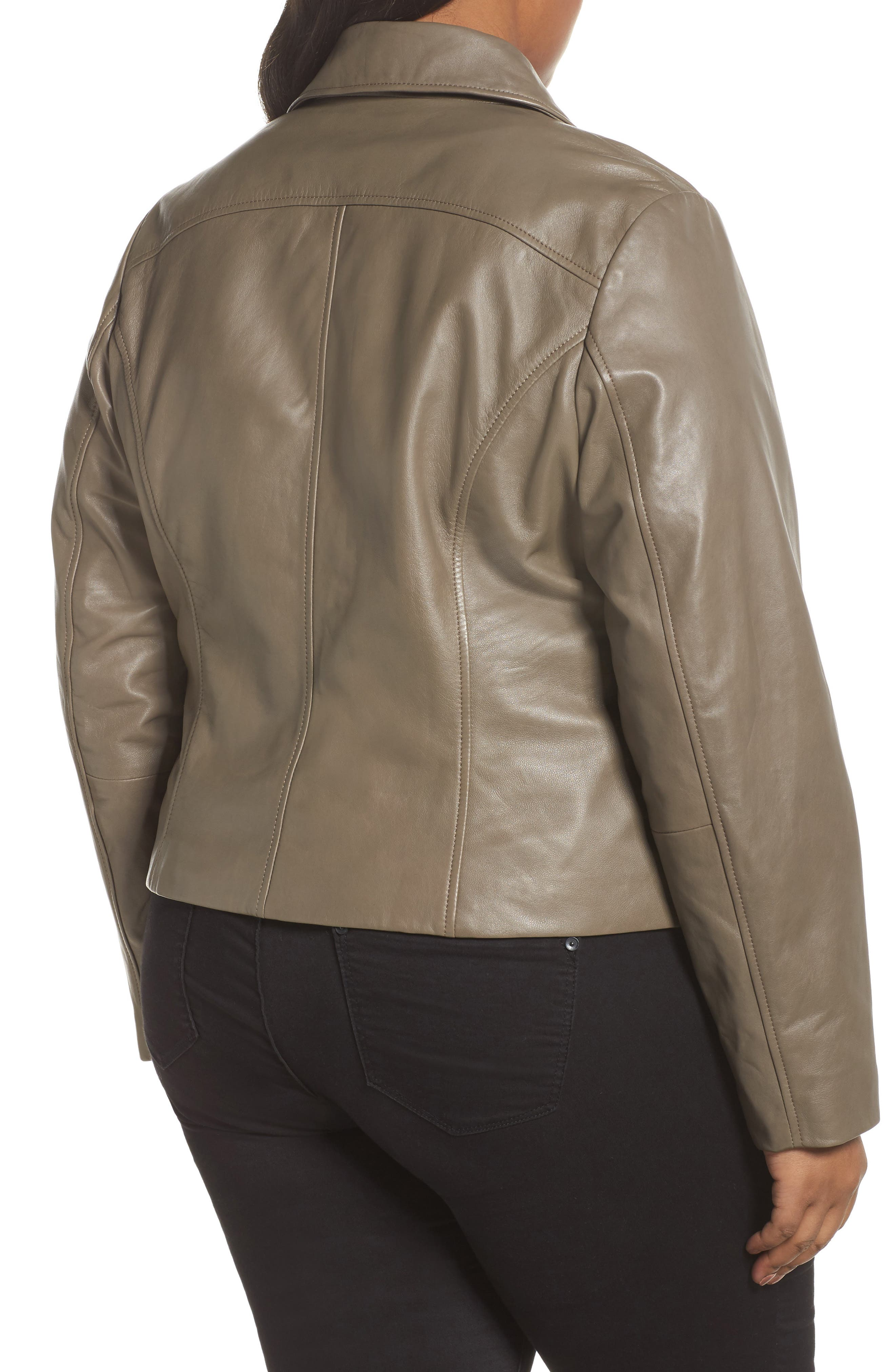 Leather Moto Jacket,                             Alternate thumbnail 4, color,
