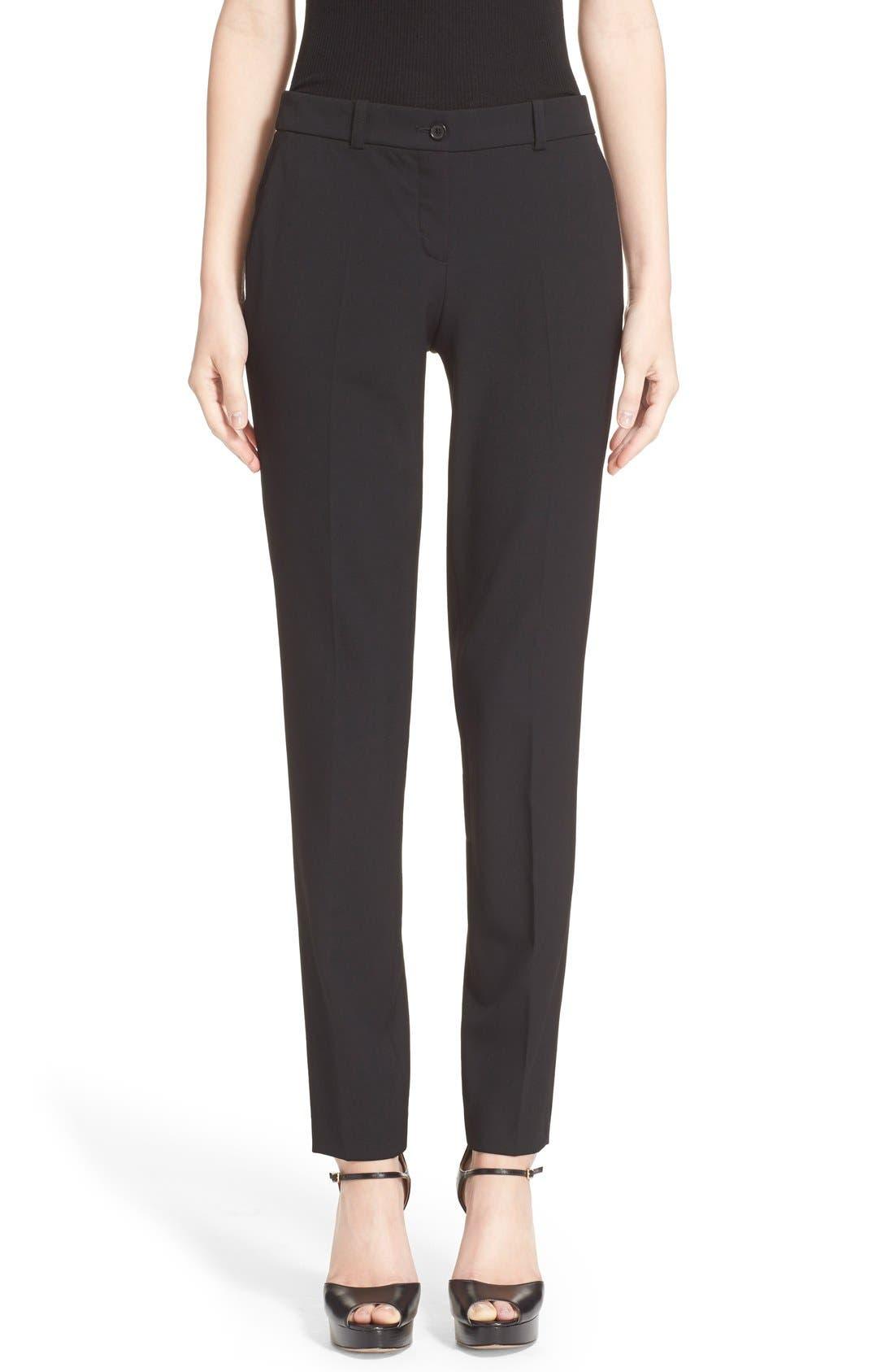 'Samantha' Stretch Wool Straight Leg Pants,                             Main thumbnail 1, color,                             BLACK