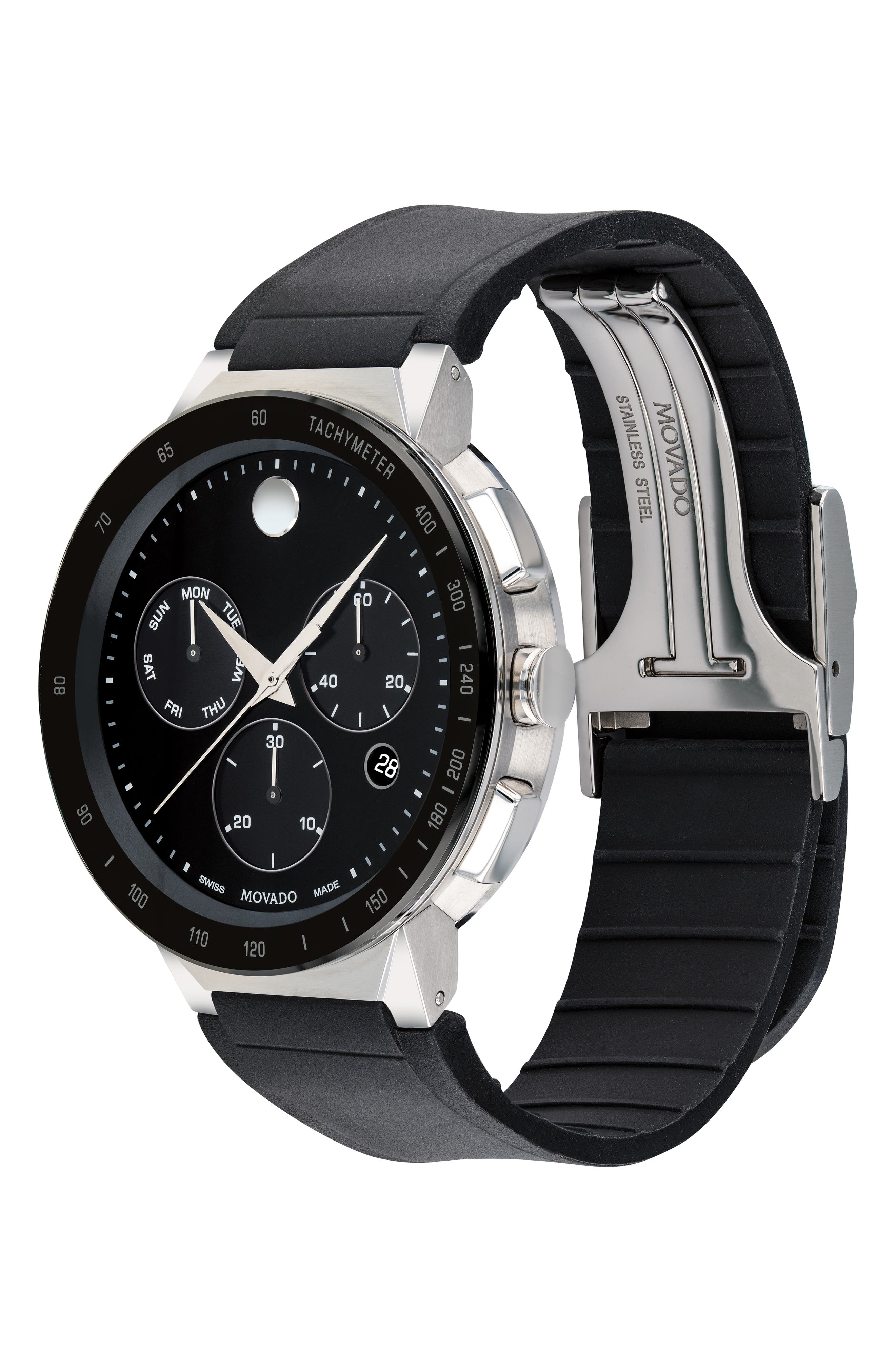 MOVADO,                             Sapphire Chronograph Rubber Strap Watch, 43mm,                             Alternate thumbnail 3, color,                             BLACK