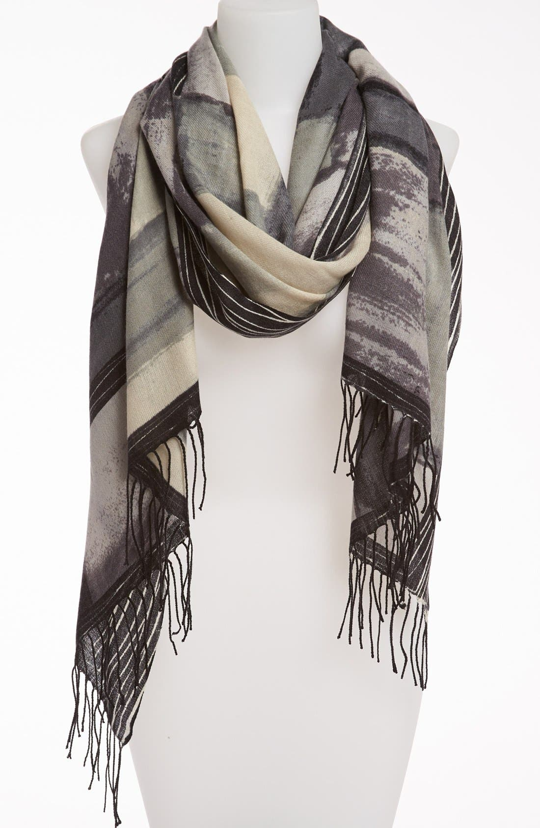 'Painterly Geometric' Wool & Cashmere Scarf,                         Main,                         color, 001