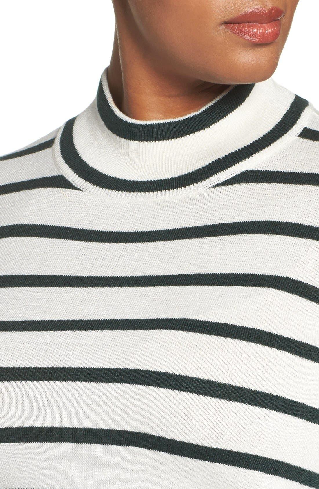 Stripe Mock Neck Sweater,                             Alternate thumbnail 4, color,                             317