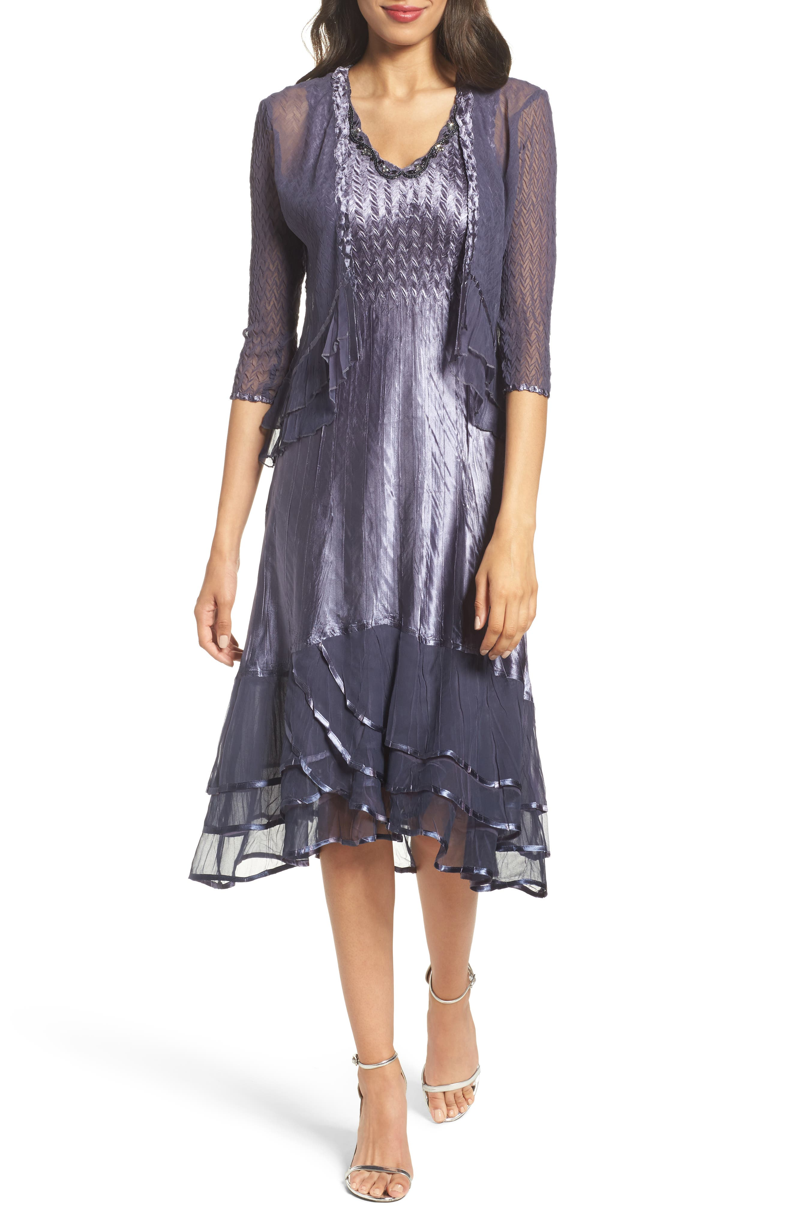 Petite Komarov Embellished Charmeuse Dress & Chiffon Jacket, Blue