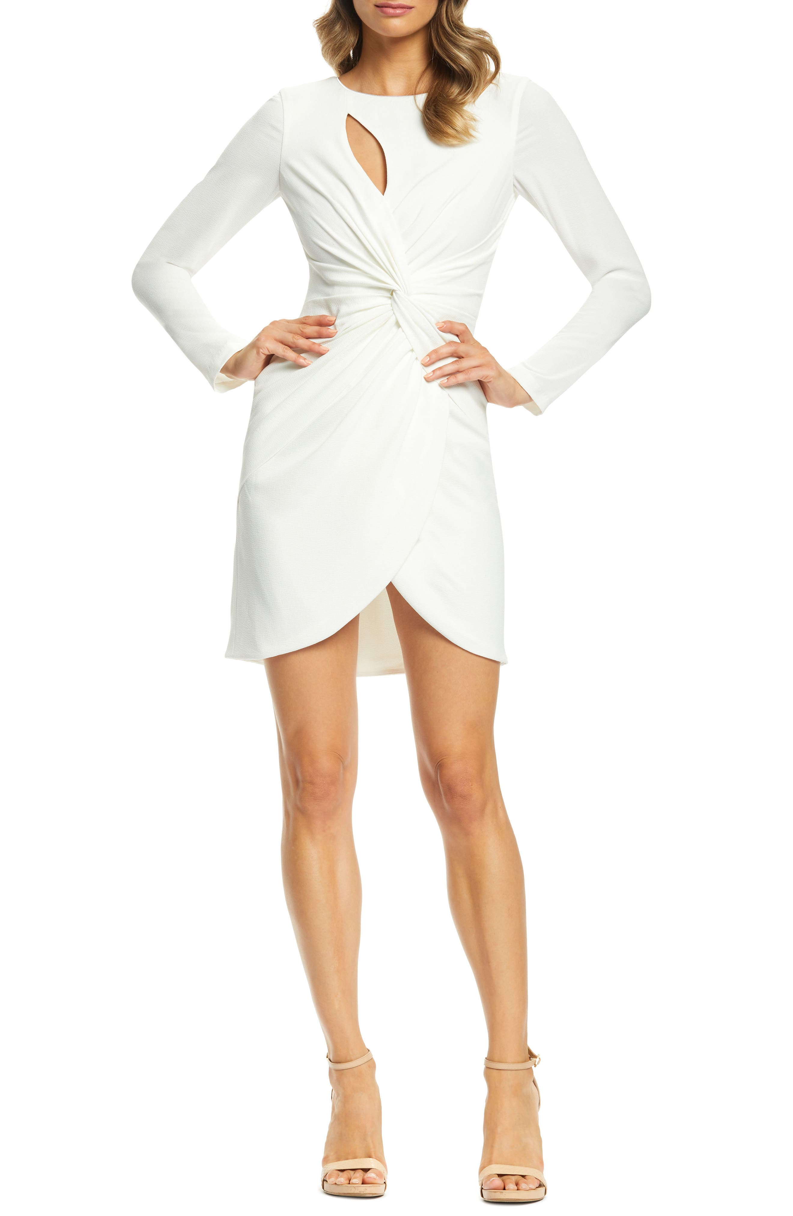 Dress The Population Coby Twisted Faux Wrap Cocktail Dress, Ivory