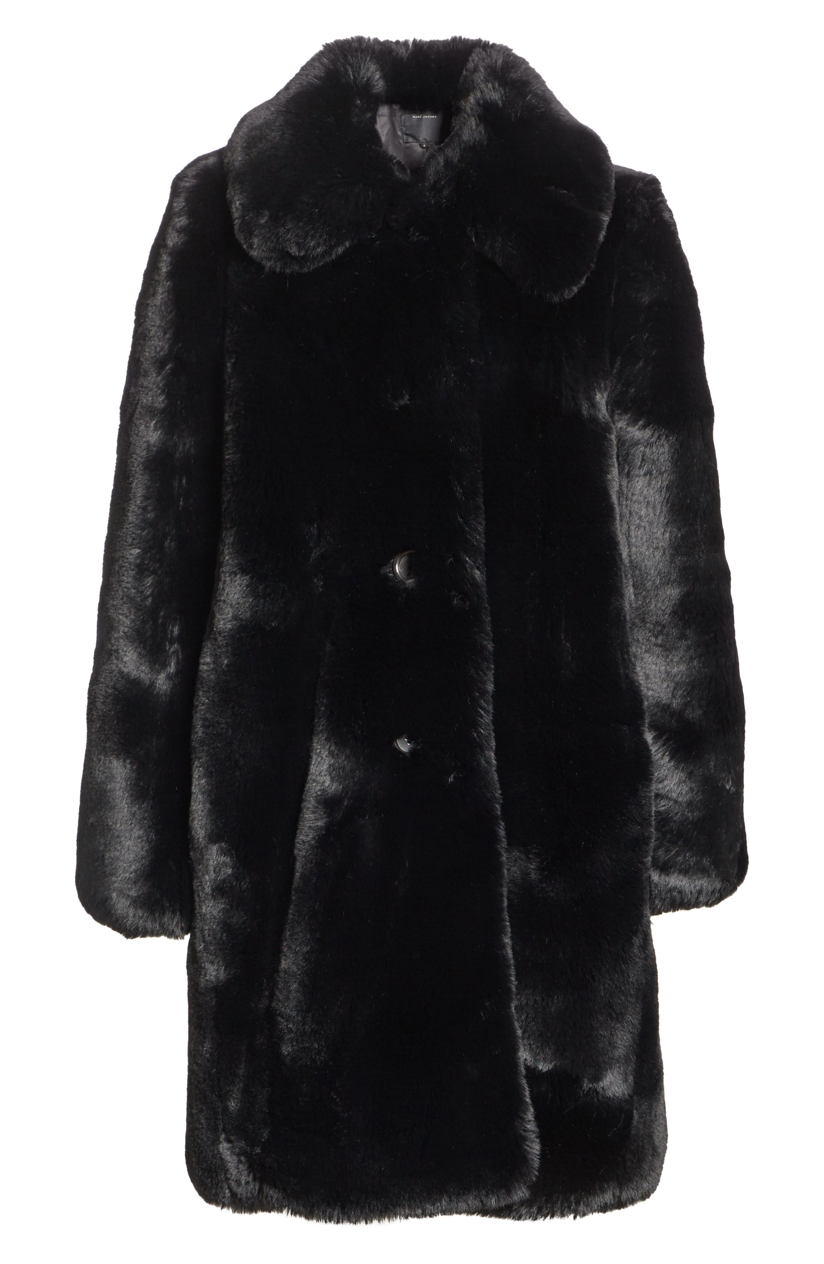 Faux Fur Coat,                             Alternate thumbnail 6, color,                             001