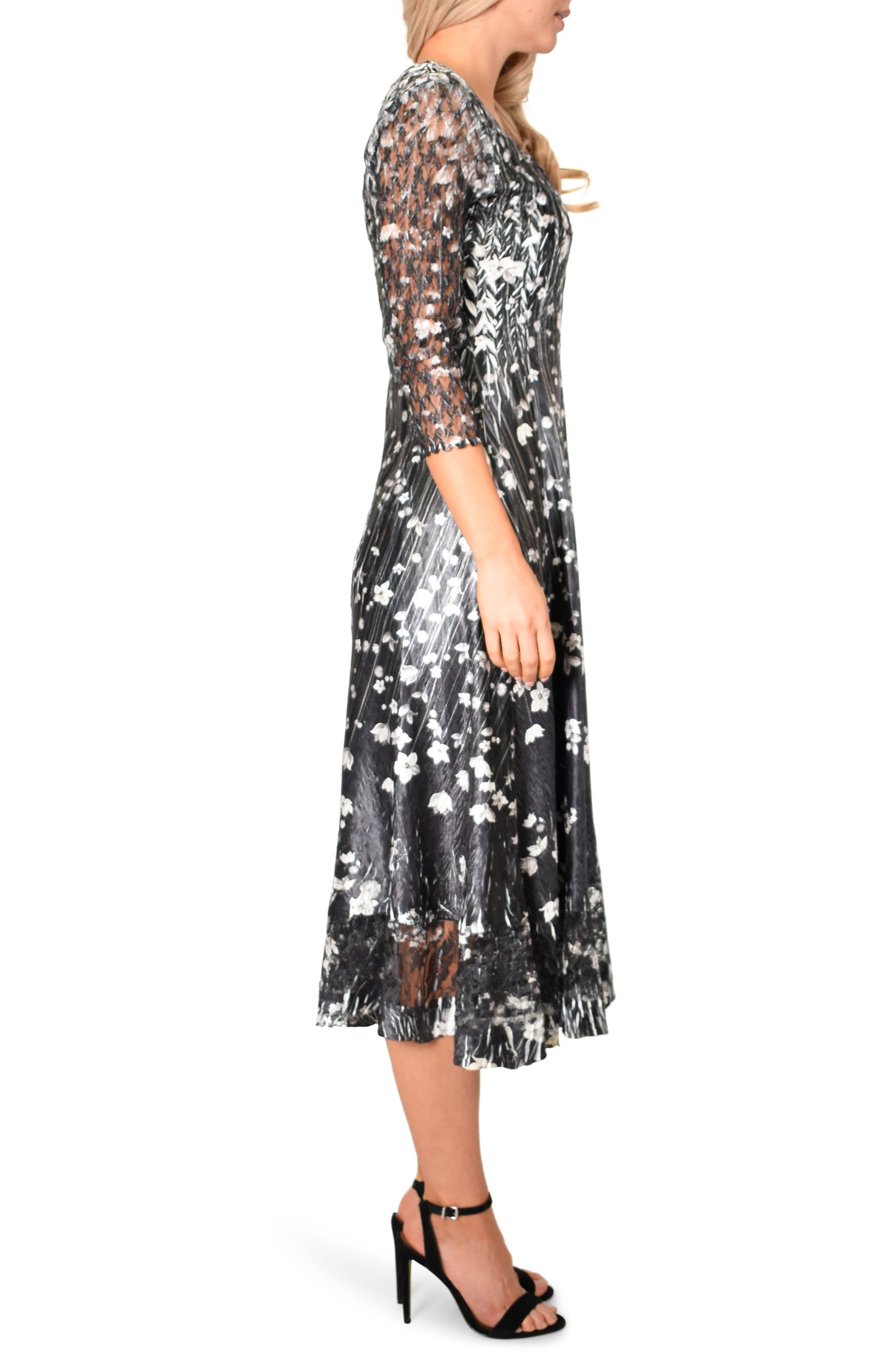 KOMAROV,                             Charmeuse A-Line Dress,                             Alternate thumbnail 3, color,                             BLACK MEADOW