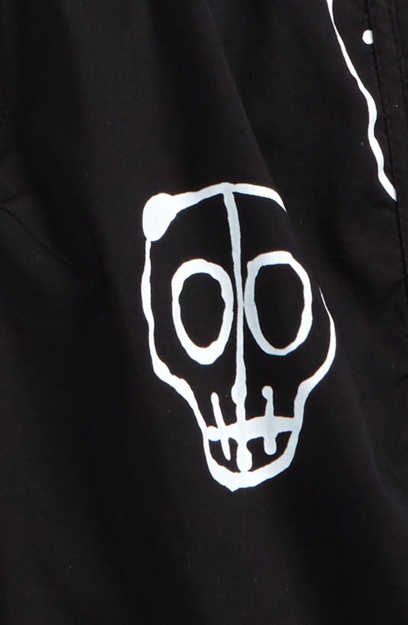 Skull Mask Board Shorts,                             Alternate thumbnail 2, color,                             001