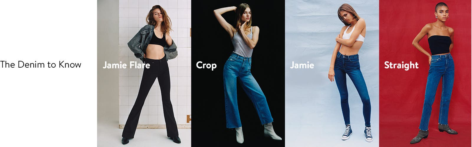 Topshop: the denim to know. / Topshop Jamie Flare jeans. / Topshop crop jeans. / Topshop Jamie skinny jeans. / Topshop straight-leg jeans.