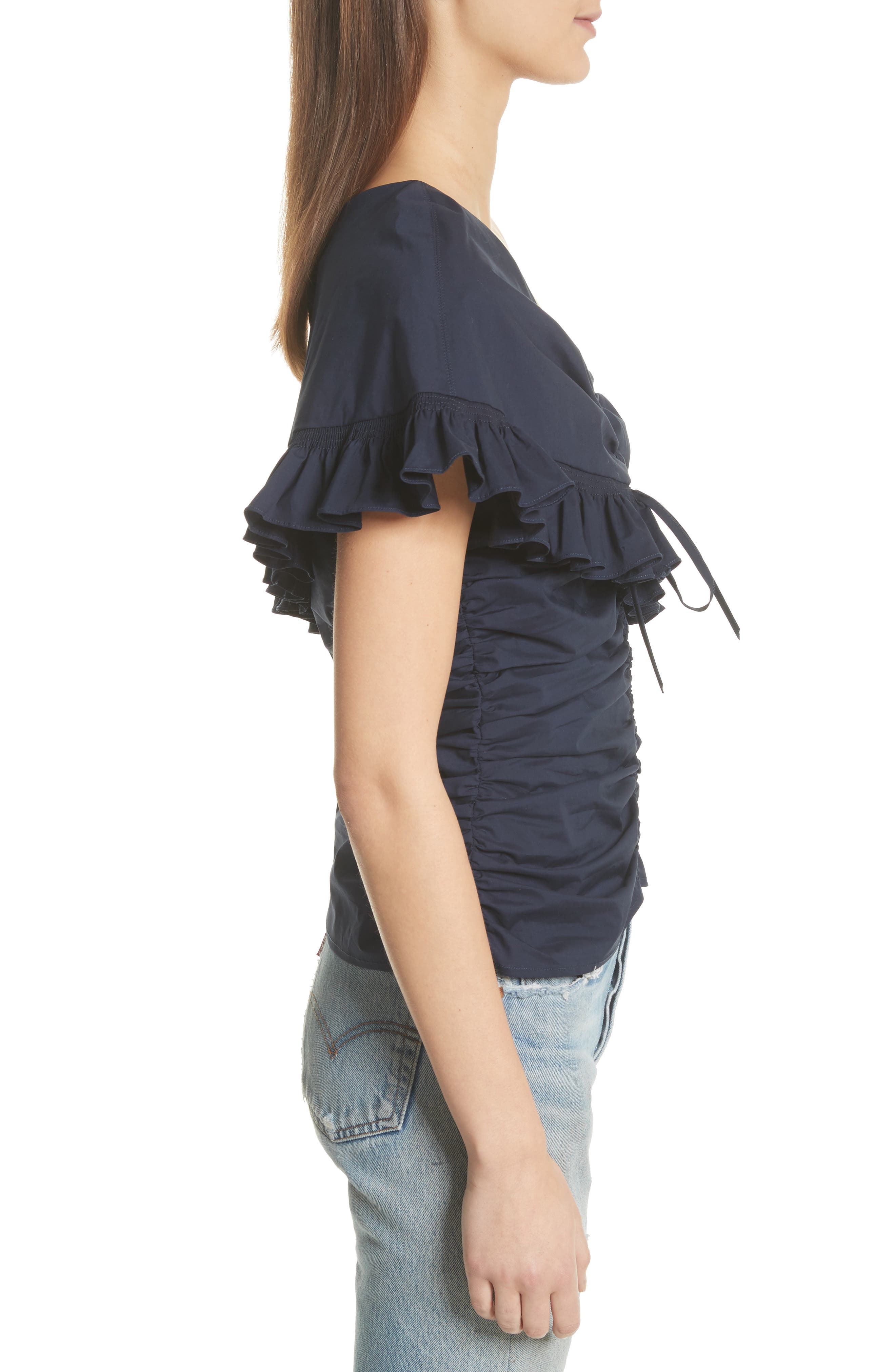 Livia Ruched & Ruffle One-Shoulder Top,                             Alternate thumbnail 3, color,                             400