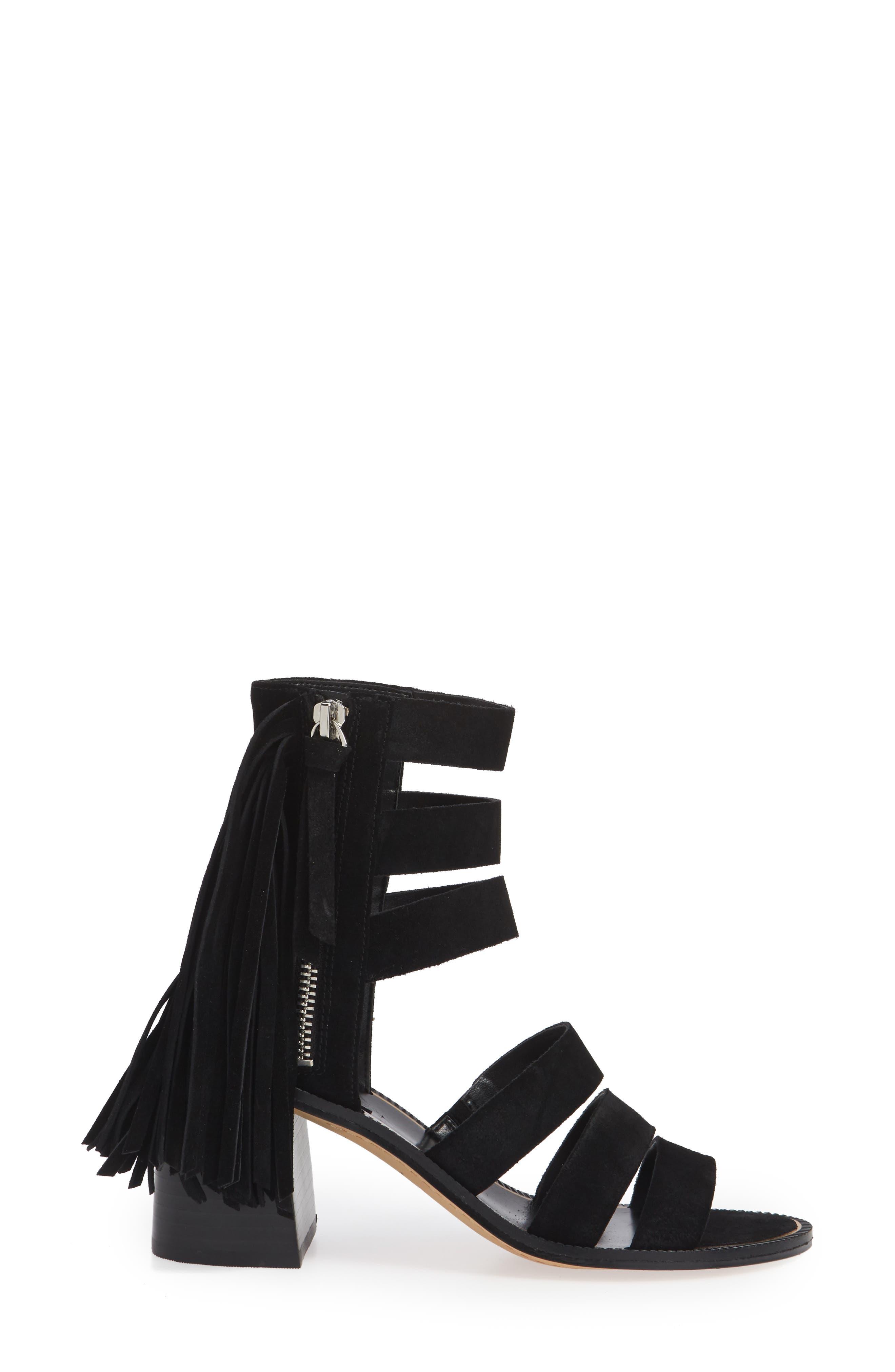 Collin Fringe Sandal,                             Alternate thumbnail 3, color,                             BLACK SUEDE