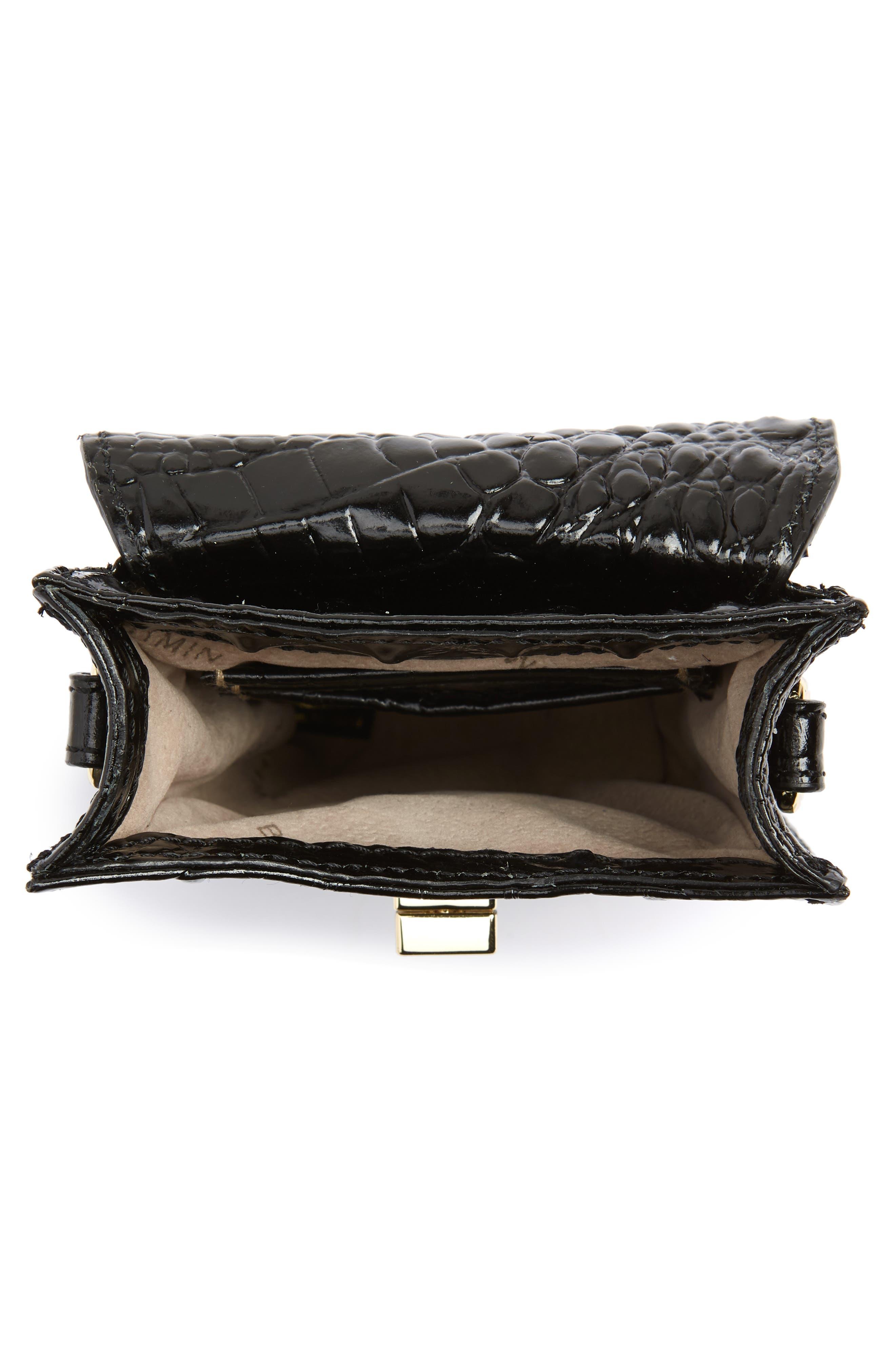 Madison Leather Smartphone Crossbody Bag,                             Alternate thumbnail 4, color,                             BLACK