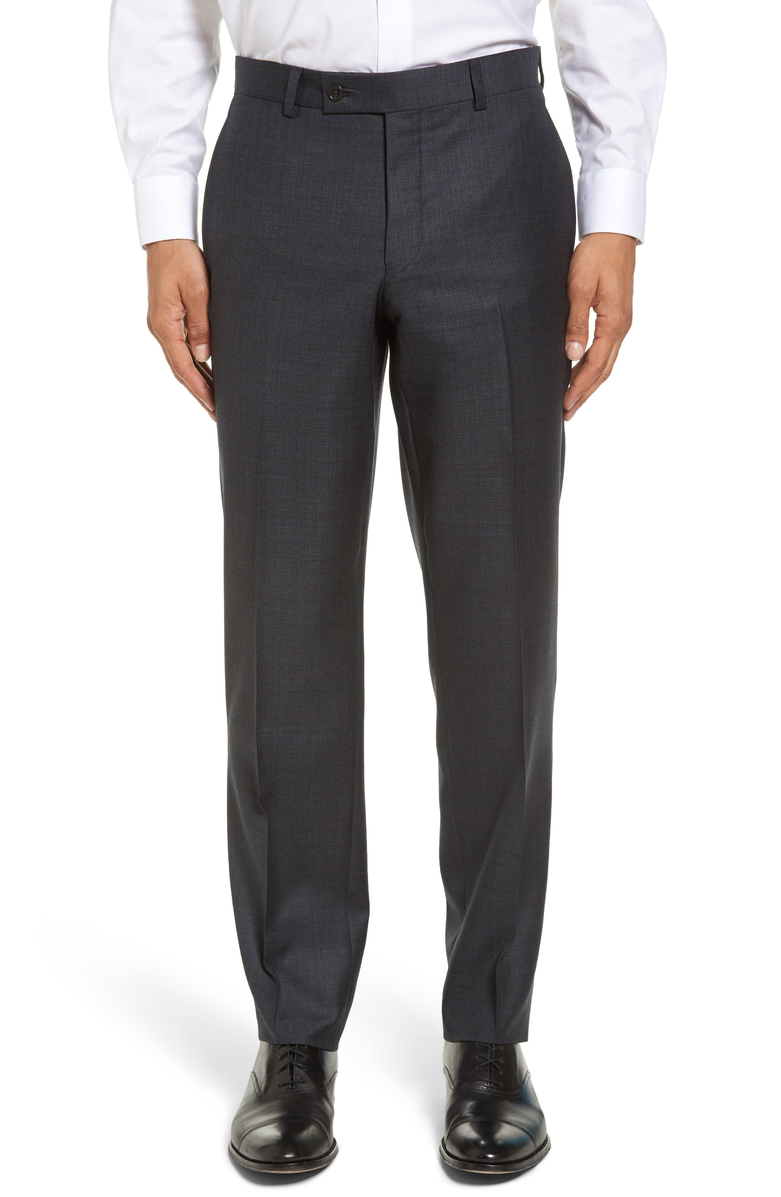 Jefferson Flat Front Solid Wool Trousers,                             Main thumbnail 1, color,                             020