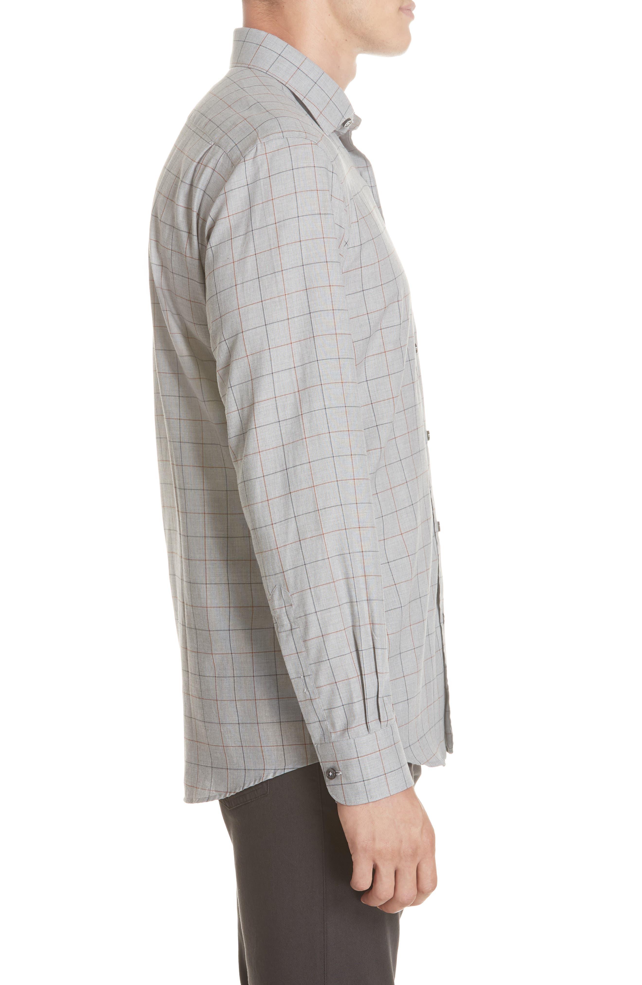 Classic Fit Windowpane Sport Shirt,                             Alternate thumbnail 4, color,                             BROWN