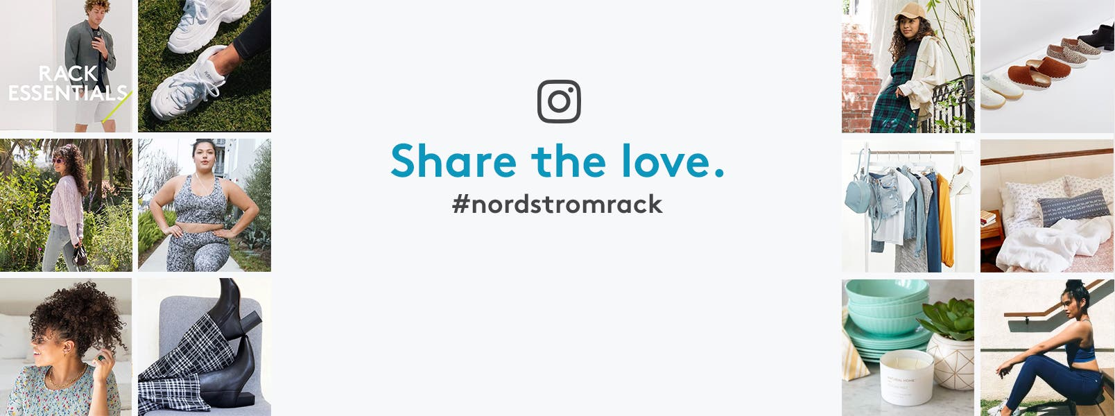 Share the love on Instagram. #nordstromrack. Images of IG logo, colorful handbags, sunglasses, flip flops, sun hat, sunscreen, women in sundress and activewear, tennis shoes, sandals, Nordstrom-Anniversary-Sale-is-coming banner, summer wardrobe, pastel dishes, candle and plant holder.