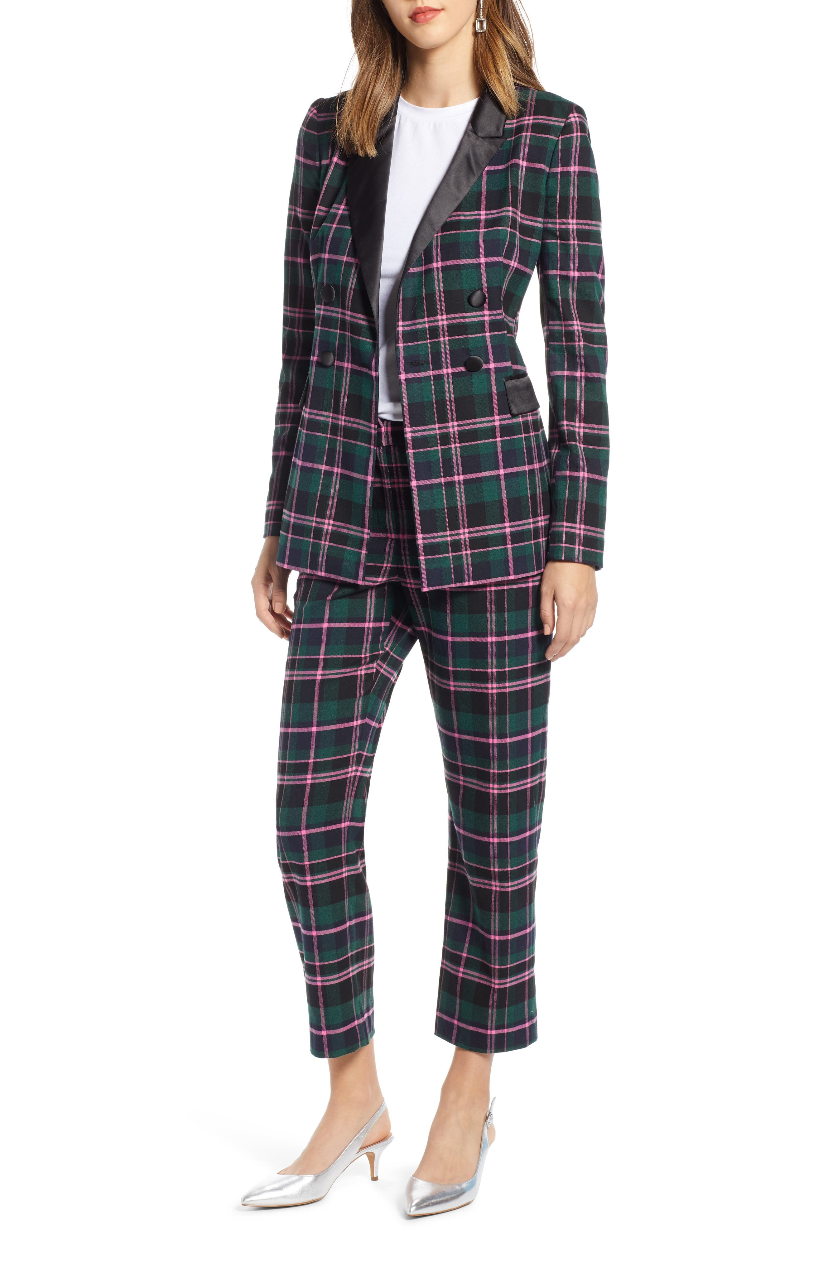Double Breasted Plaid Blazer,                             Alternate thumbnail 7, color,                             301
