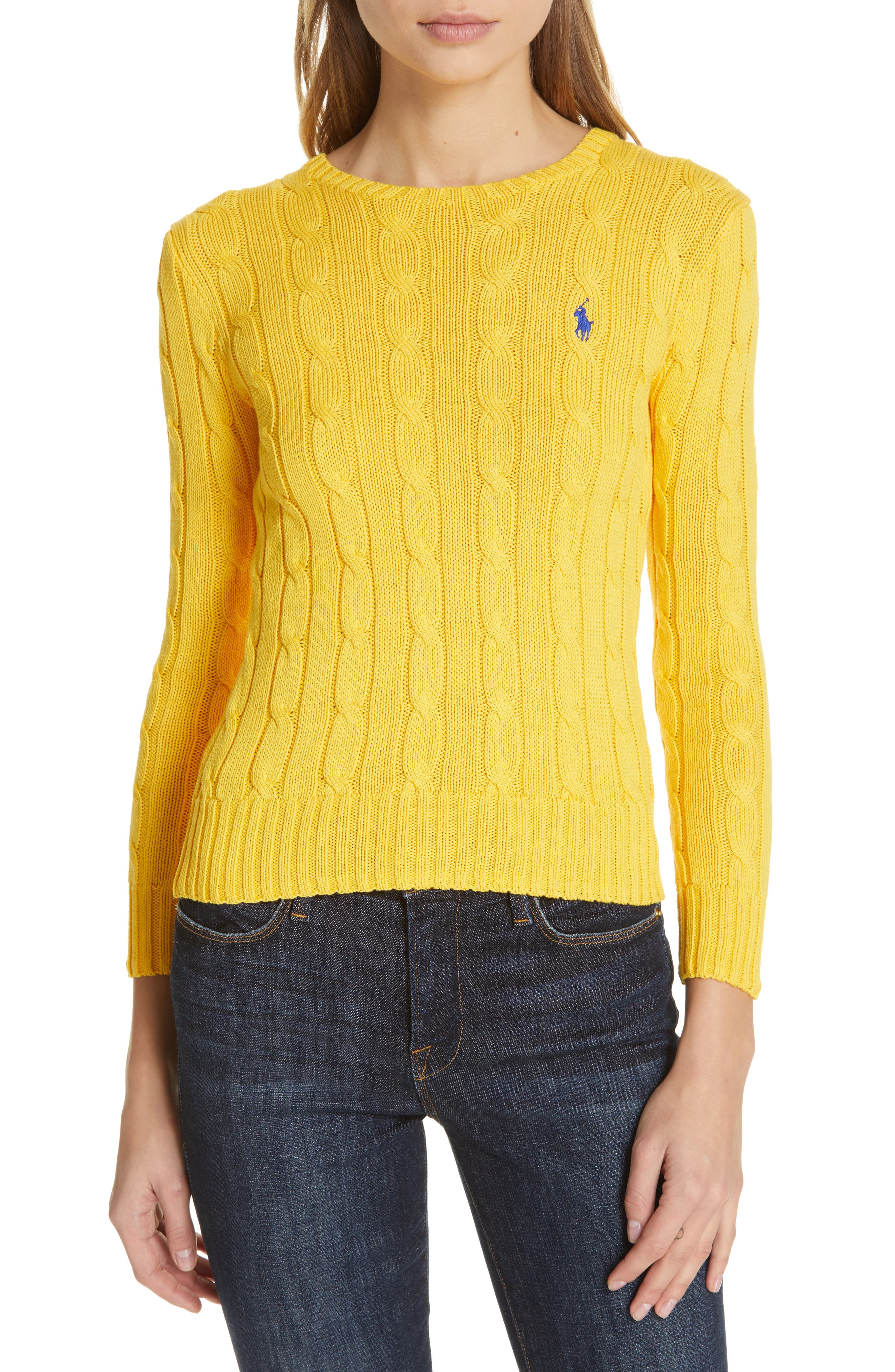 Cable Knit Cotton Sweater,                         Main,                         color, GOLD