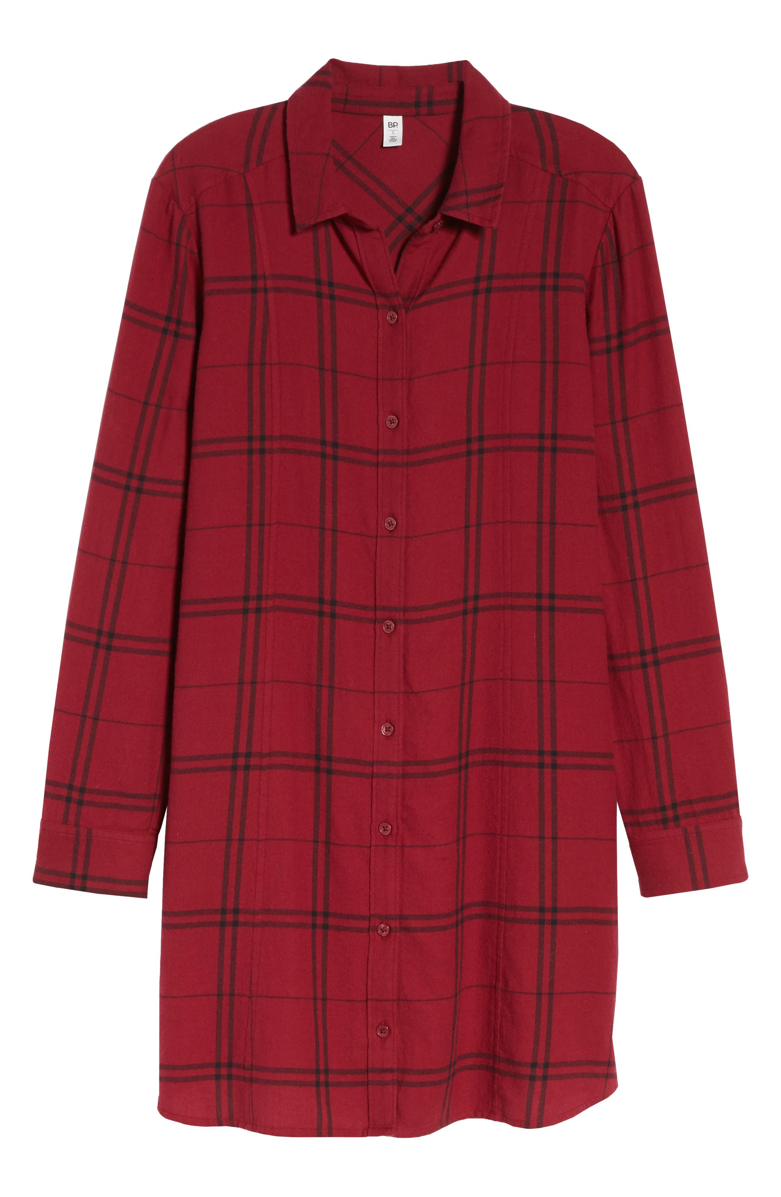 Plaid Shirt Dress,                             Alternate thumbnail 7, color,                             RED RUMBA SUNNY PLAID