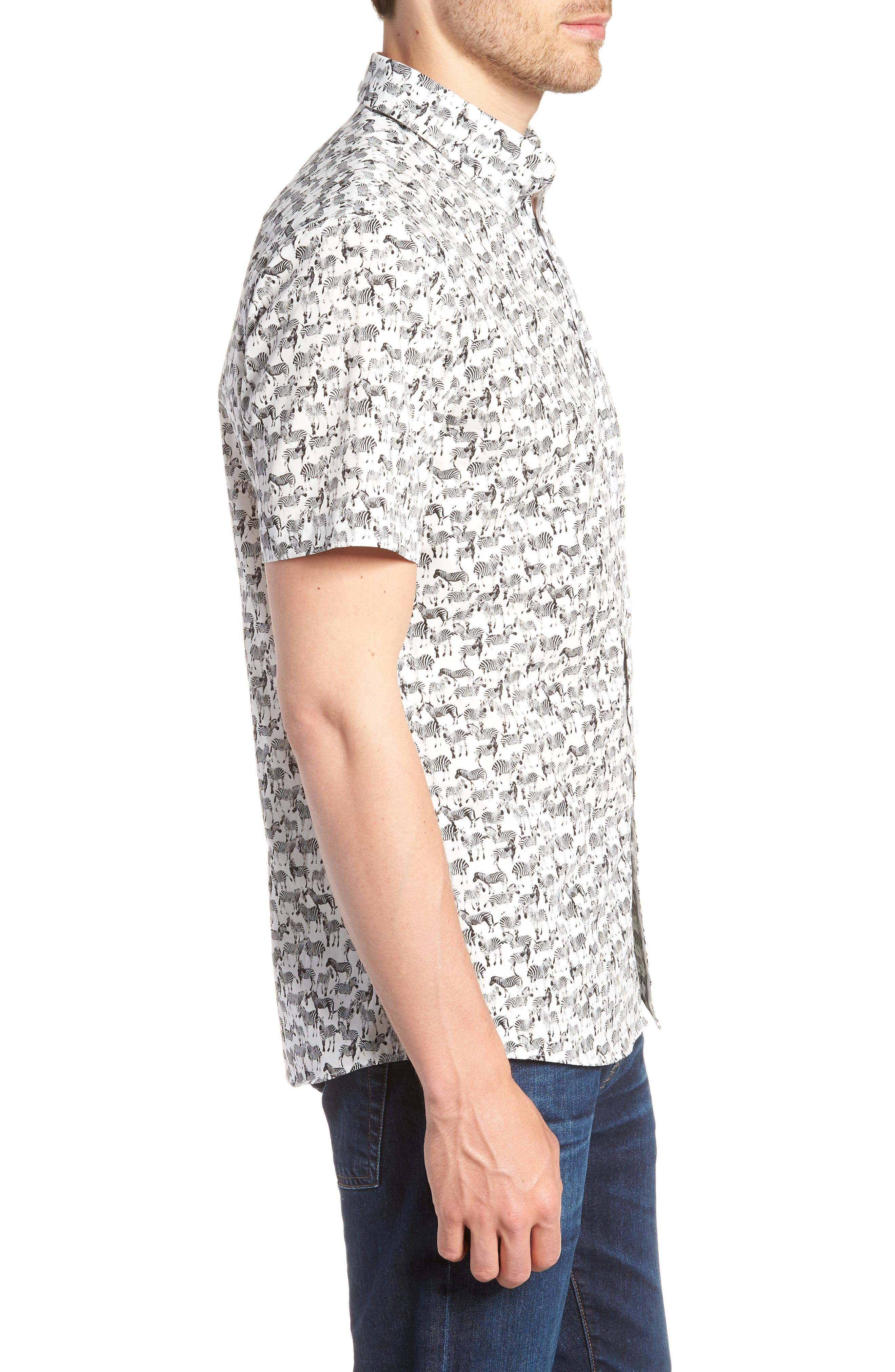 Trim Fit Print Short Sleeve Sport Shirt,                             Alternate thumbnail 3, color,                             BLACK WHITE ZEBRAS
