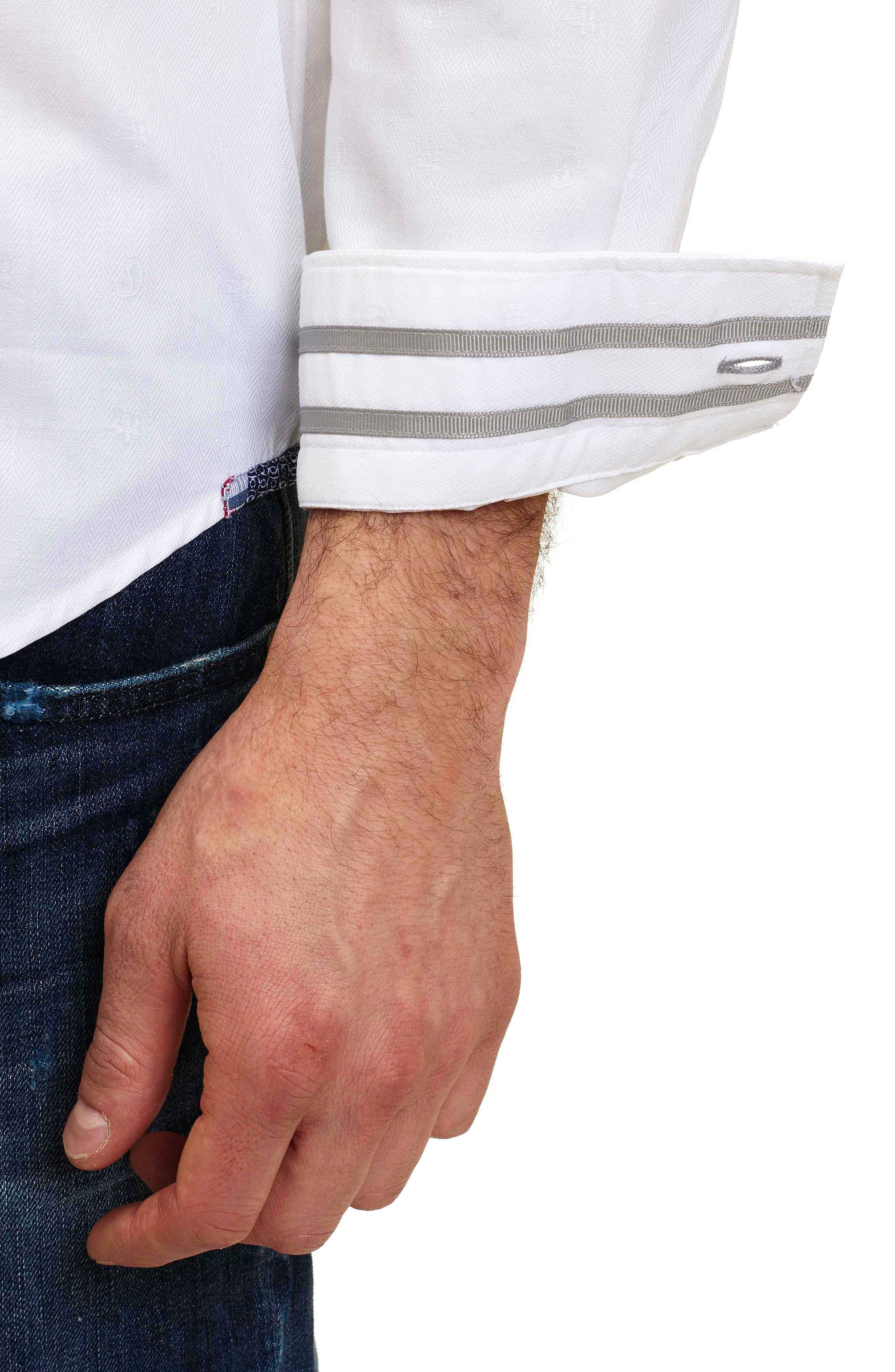 Taner Tailored Fit Dobby Herringbone Sport Shirt,                             Alternate thumbnail 3, color,                             WHITE