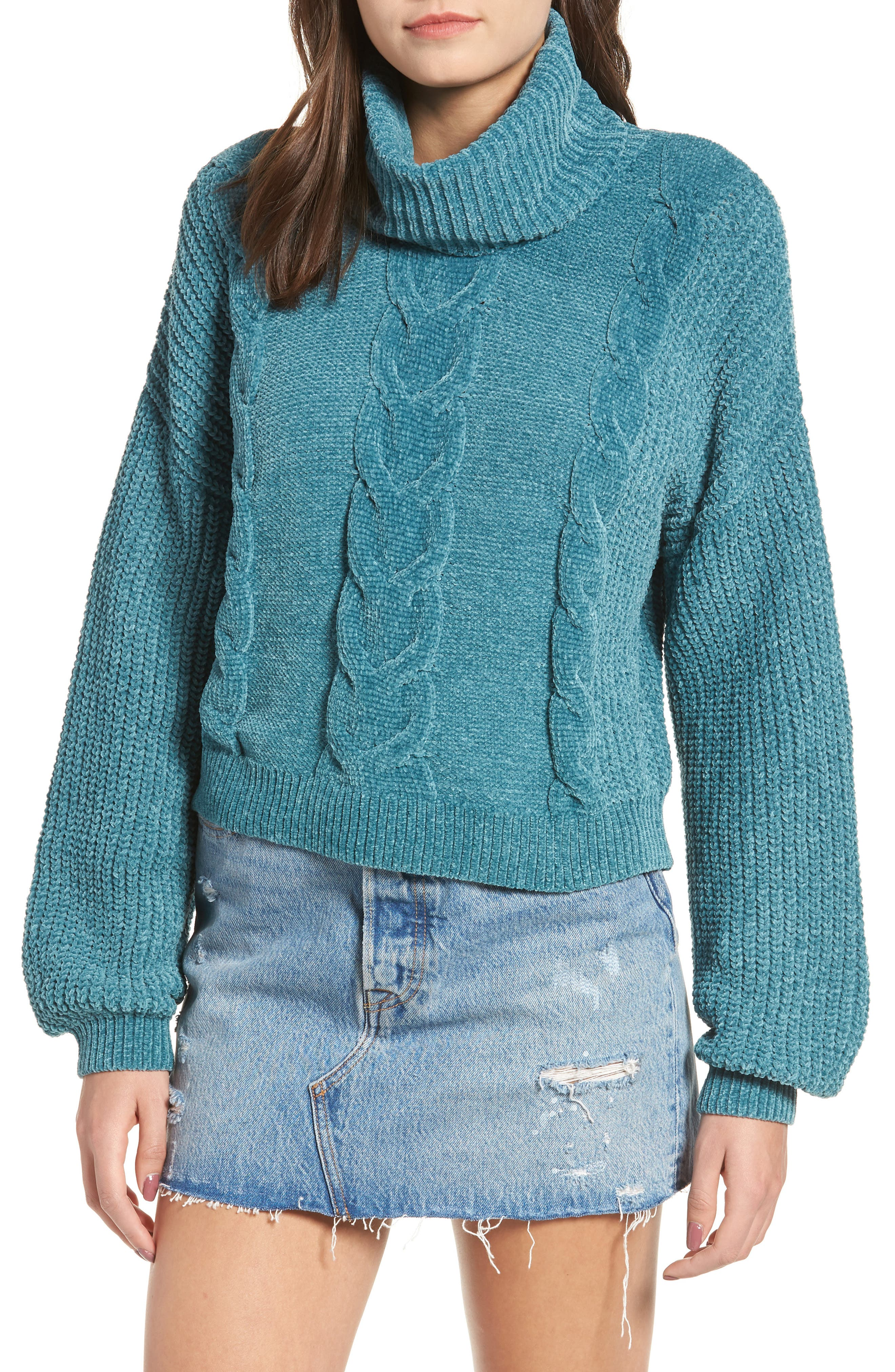 Cable Knit Chenille Sweater,                             Main thumbnail 1, color,                             TEAL HYDRO