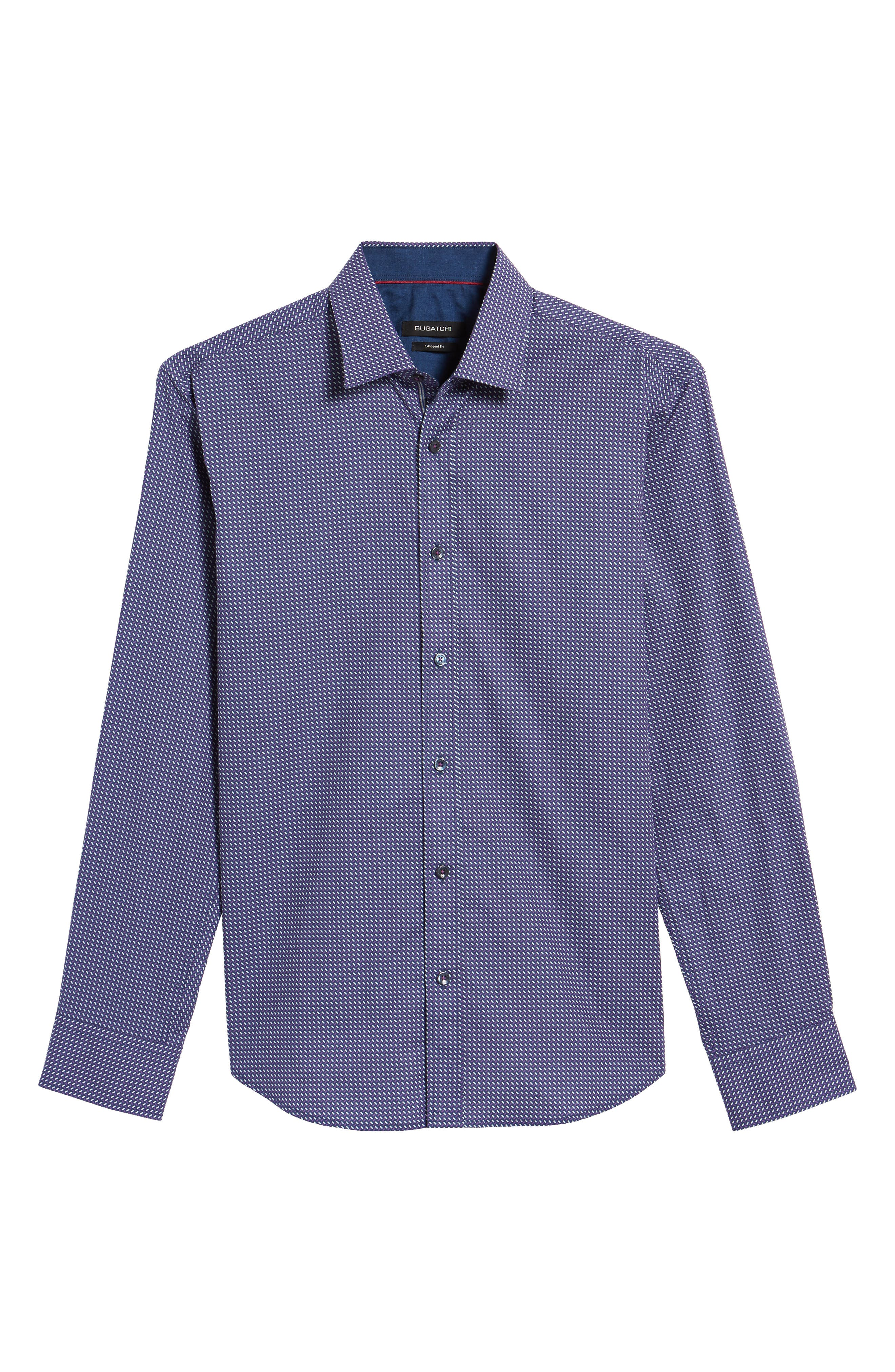 Trim Fit Weave Print Sport Shirt,                             Alternate thumbnail 6, color,                             408