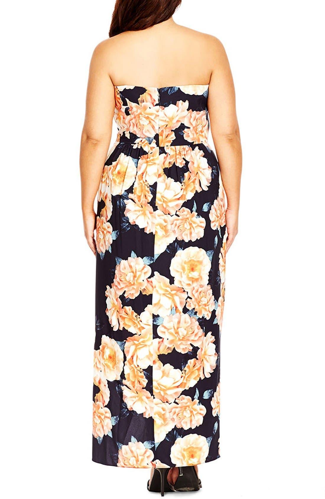 Tulip Time Floral Print Maxi Dress,                             Alternate thumbnail 2, color,                             BLACK