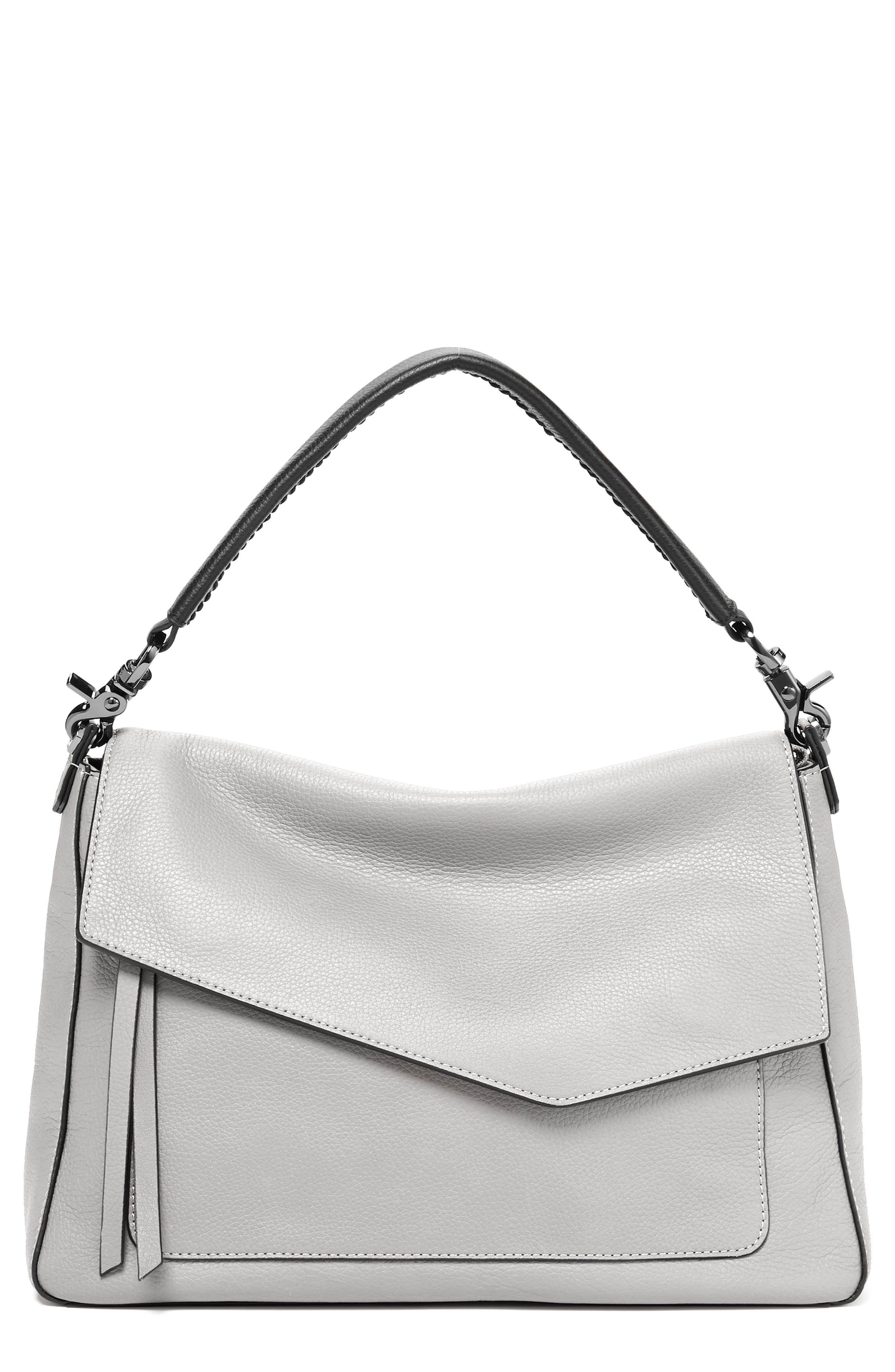 Cobble Hill Slouch Calfskin Leather Hobo - Grey in Silver Grey