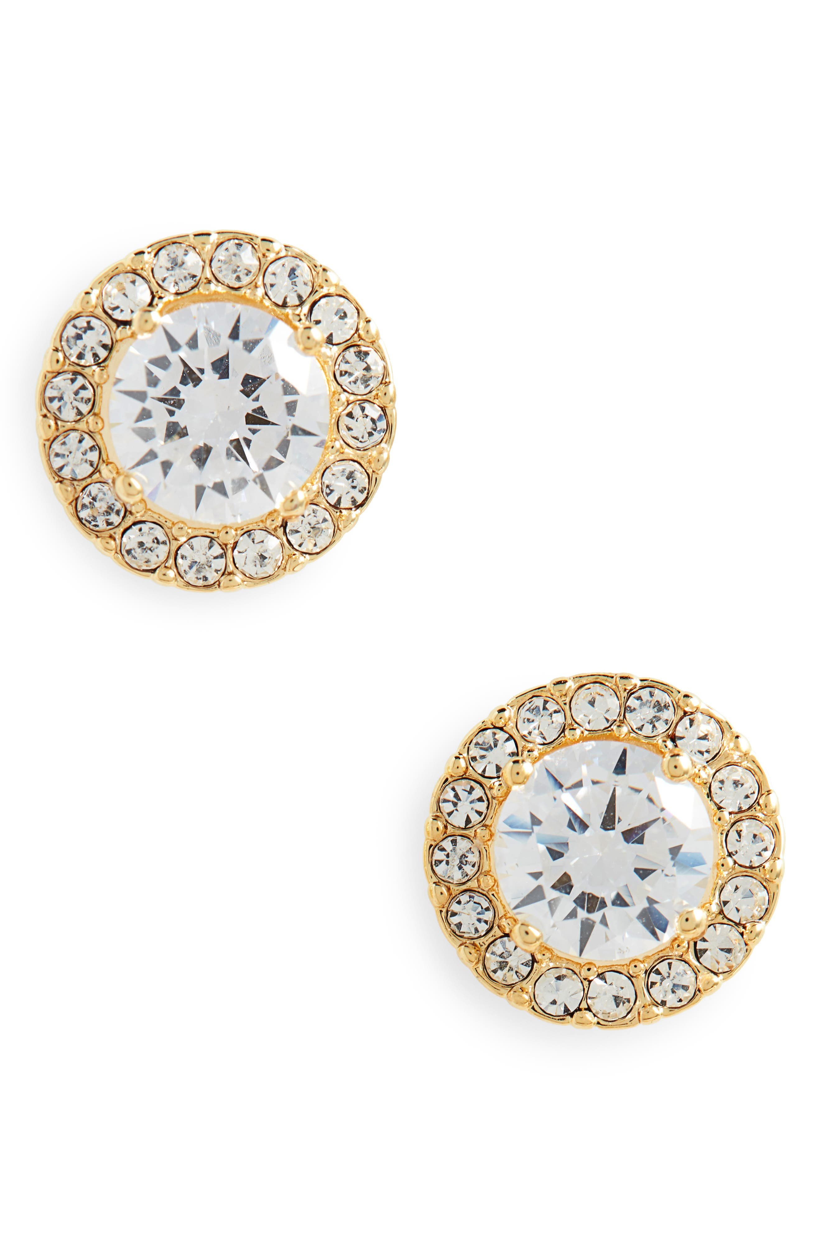 Halo Cubic Zirconia Stud Earrings,                             Main thumbnail 1, color,                             CLEAR- GOLD