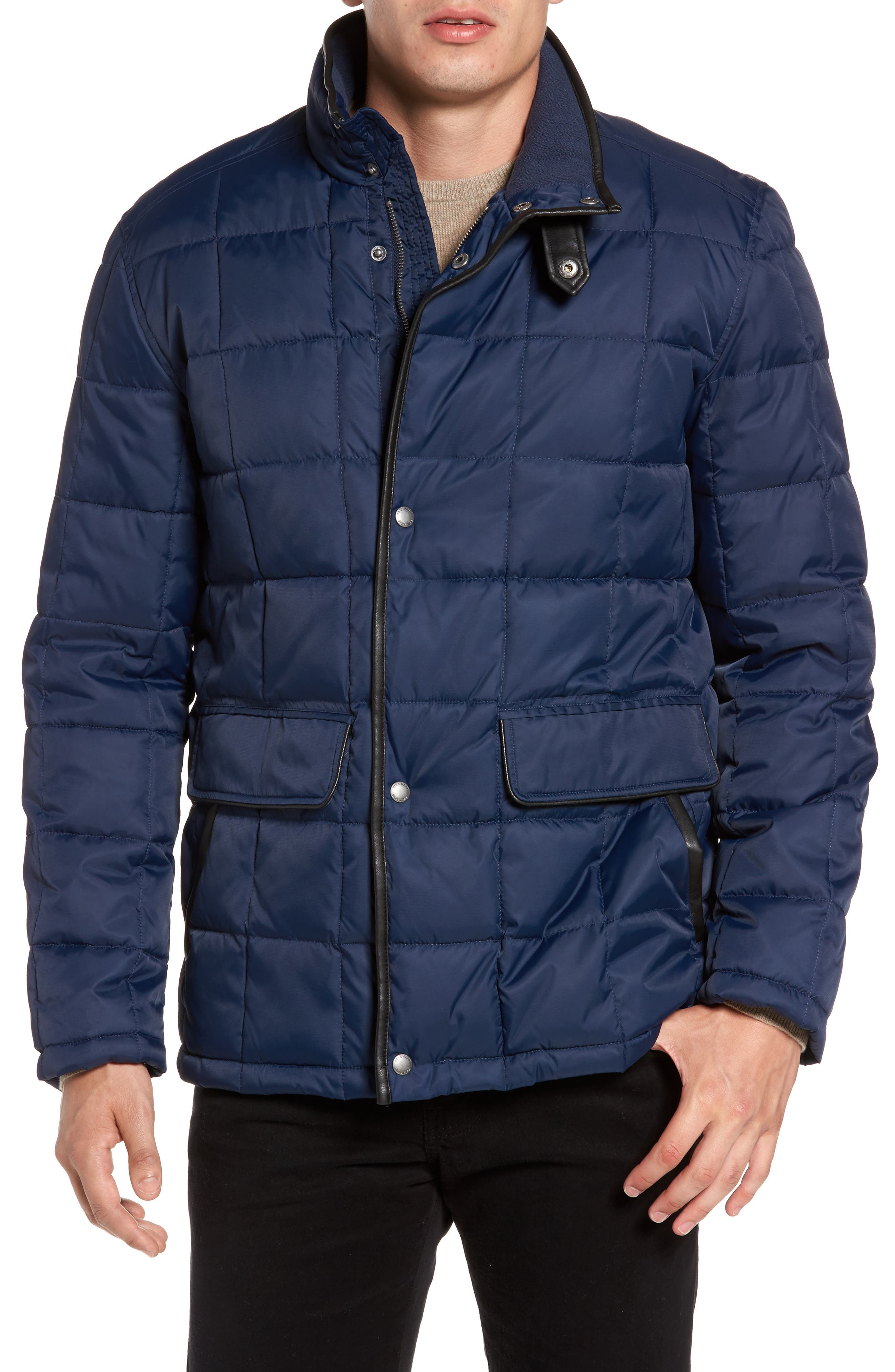 Box Quilted Jacket,                             Alternate thumbnail 4, color,                             NAVY