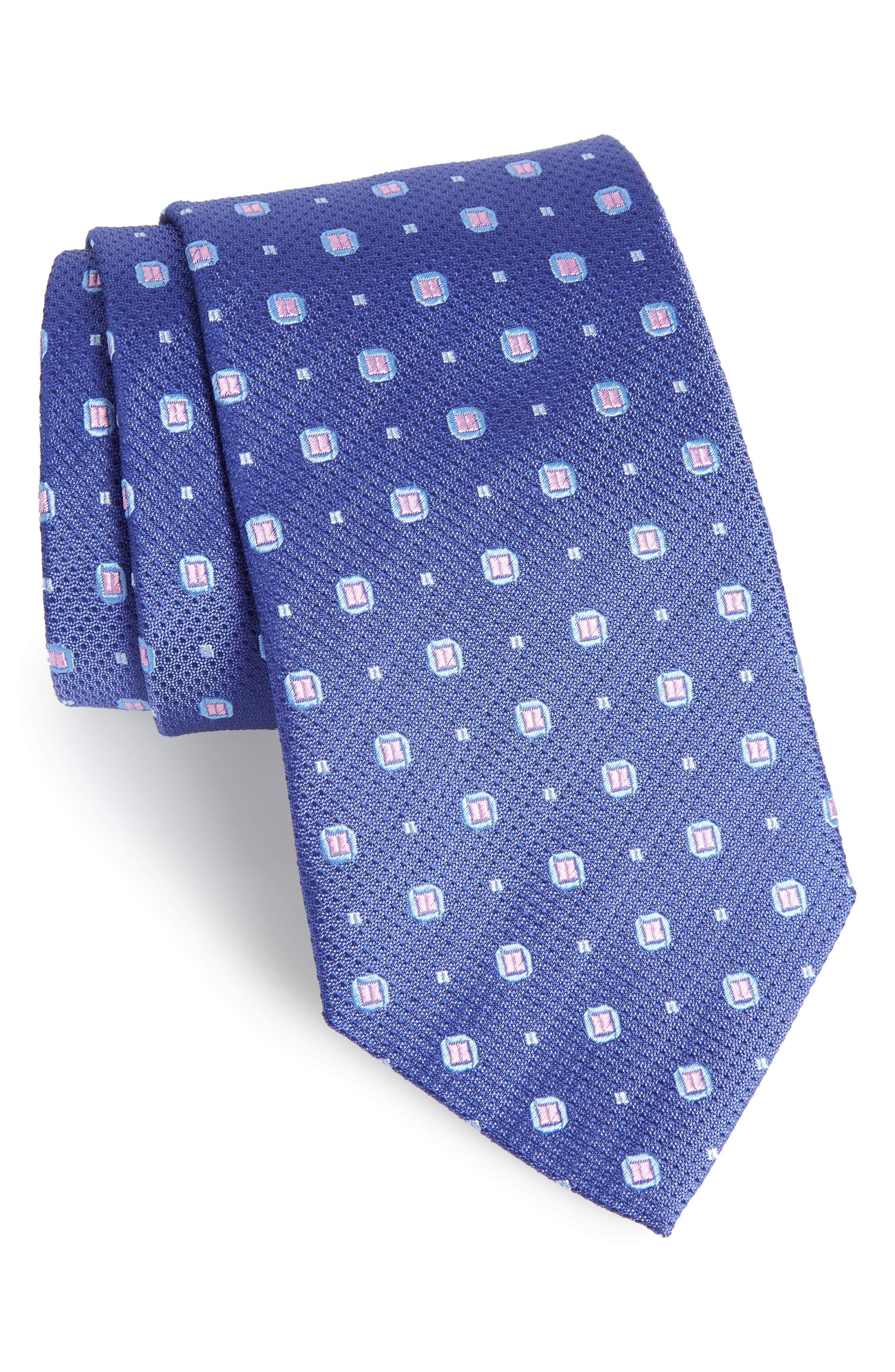 Medallion Silk Tie,                         Main,                         color, NAVY