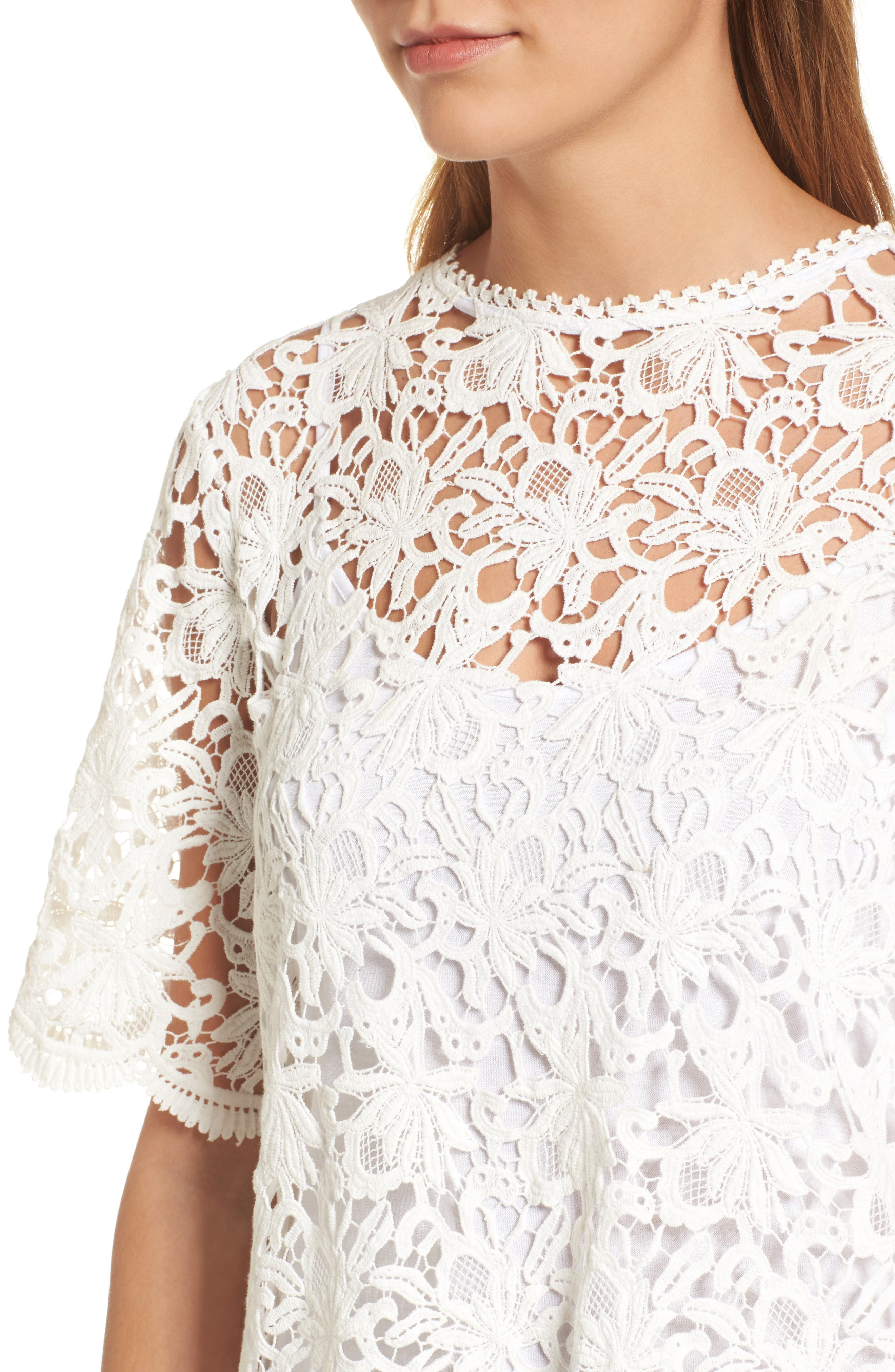 Lace Elbow Sleeve Blouse,                             Alternate thumbnail 7, color,