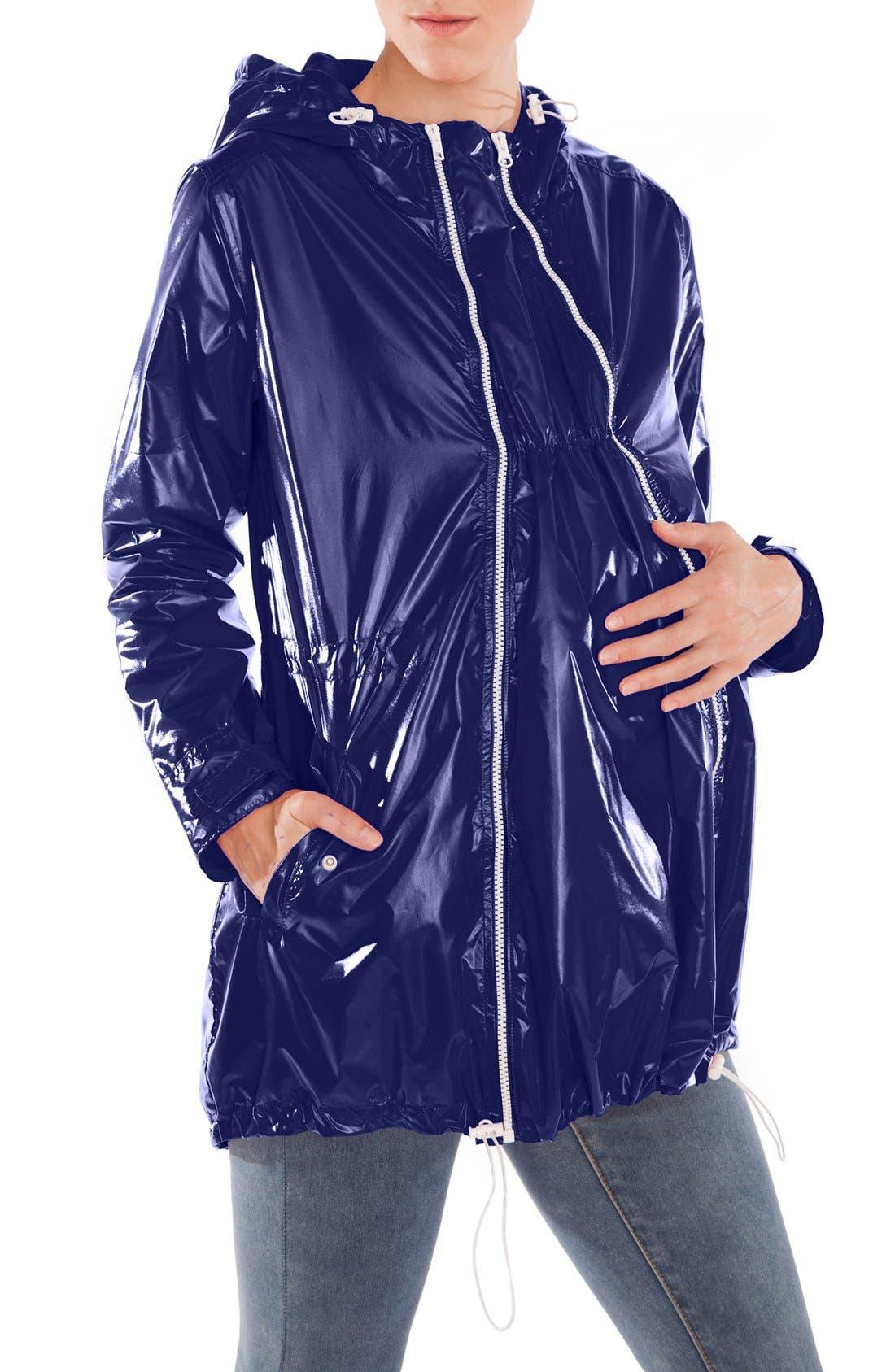 Waterproof Convertible 3-in-1 Maternity Raincoat,                             Main thumbnail 1, color,                             BRIGHT NAVY