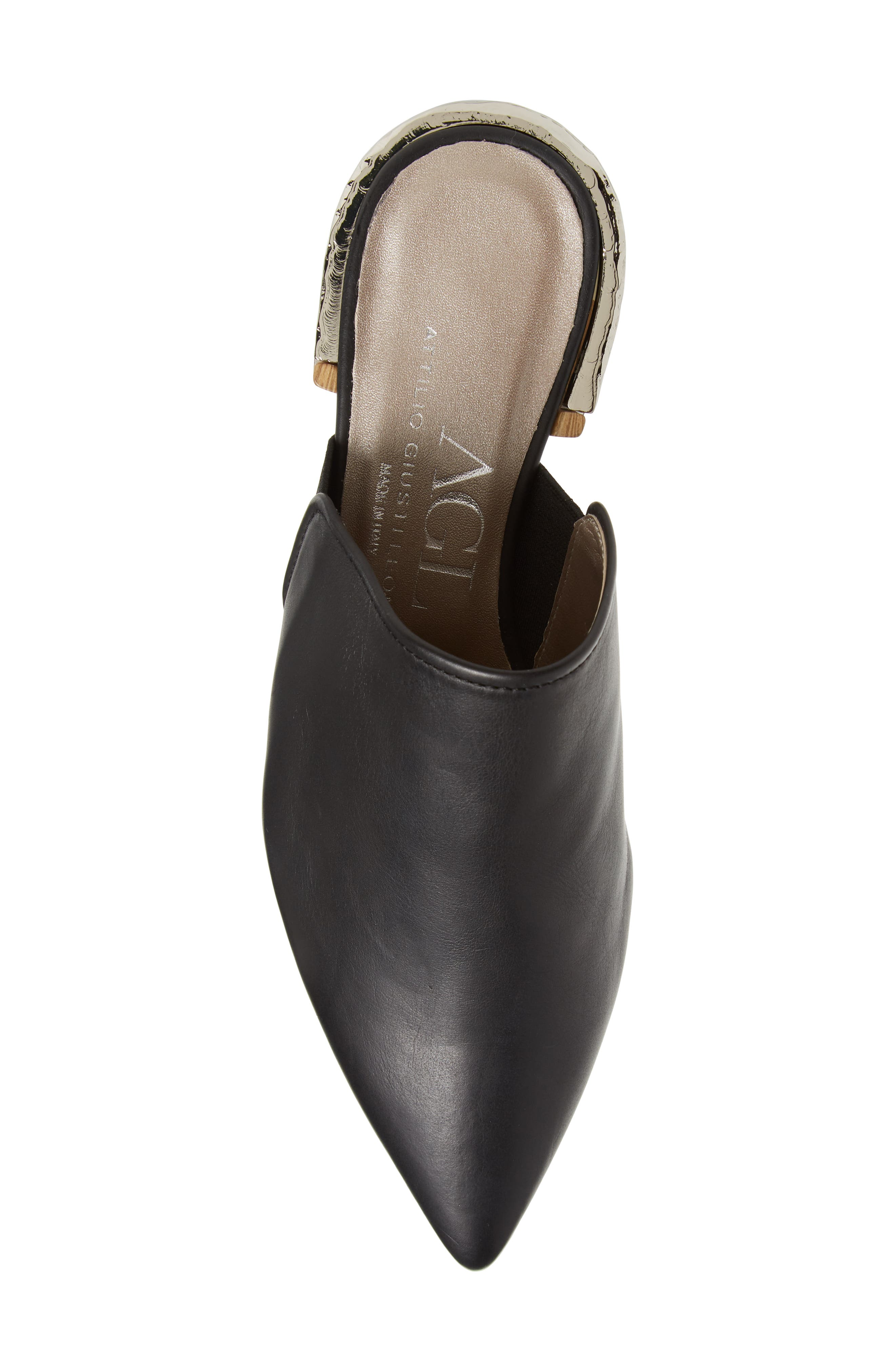 Pointed Toe Mule,                             Alternate thumbnail 5, color,                             BLACK LEATHER