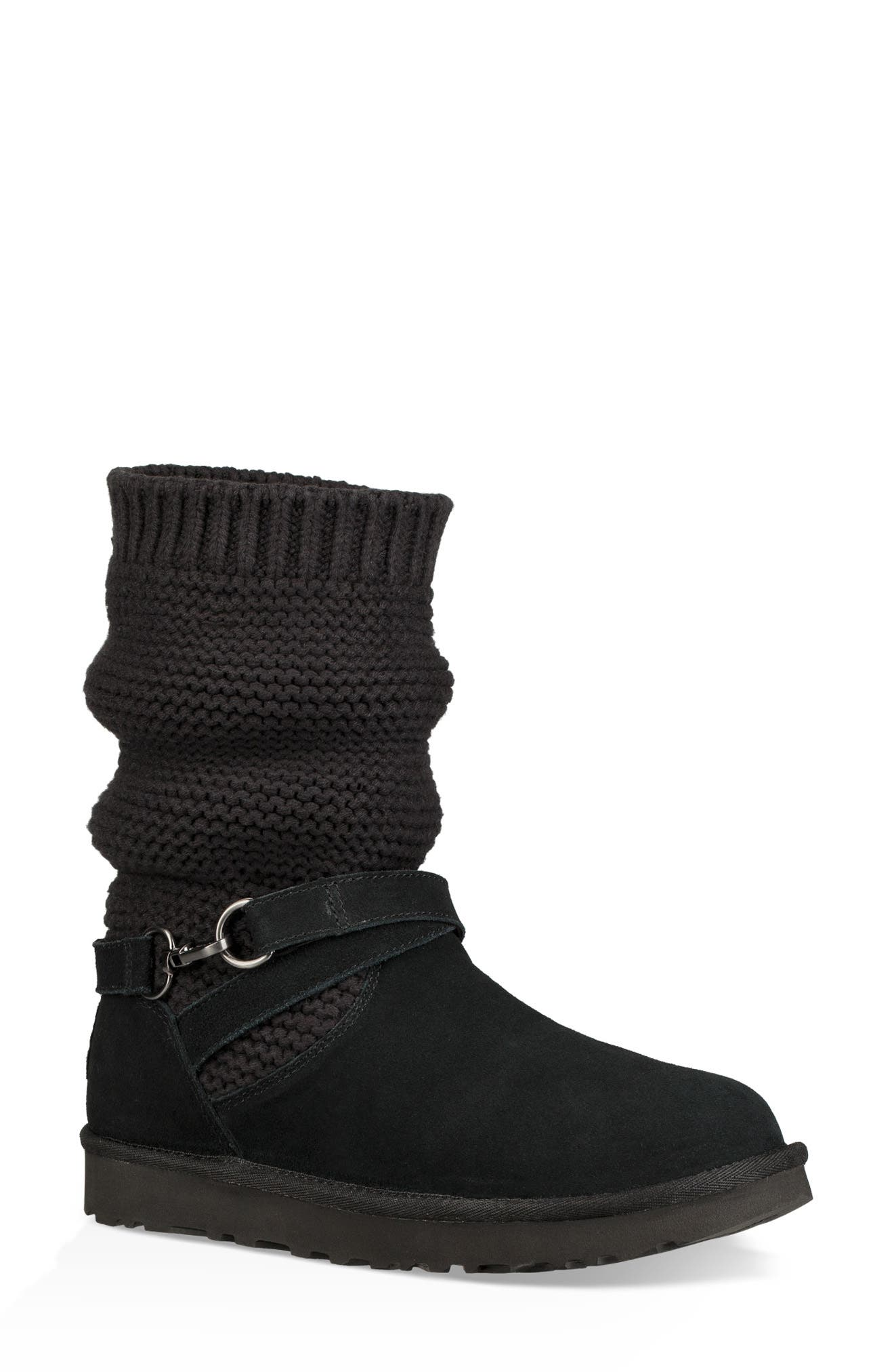 UGGpure<sup>™</sup> Strappy Purl Knit Bootie,                             Main thumbnail 1, color,                             BLACK SUEDE