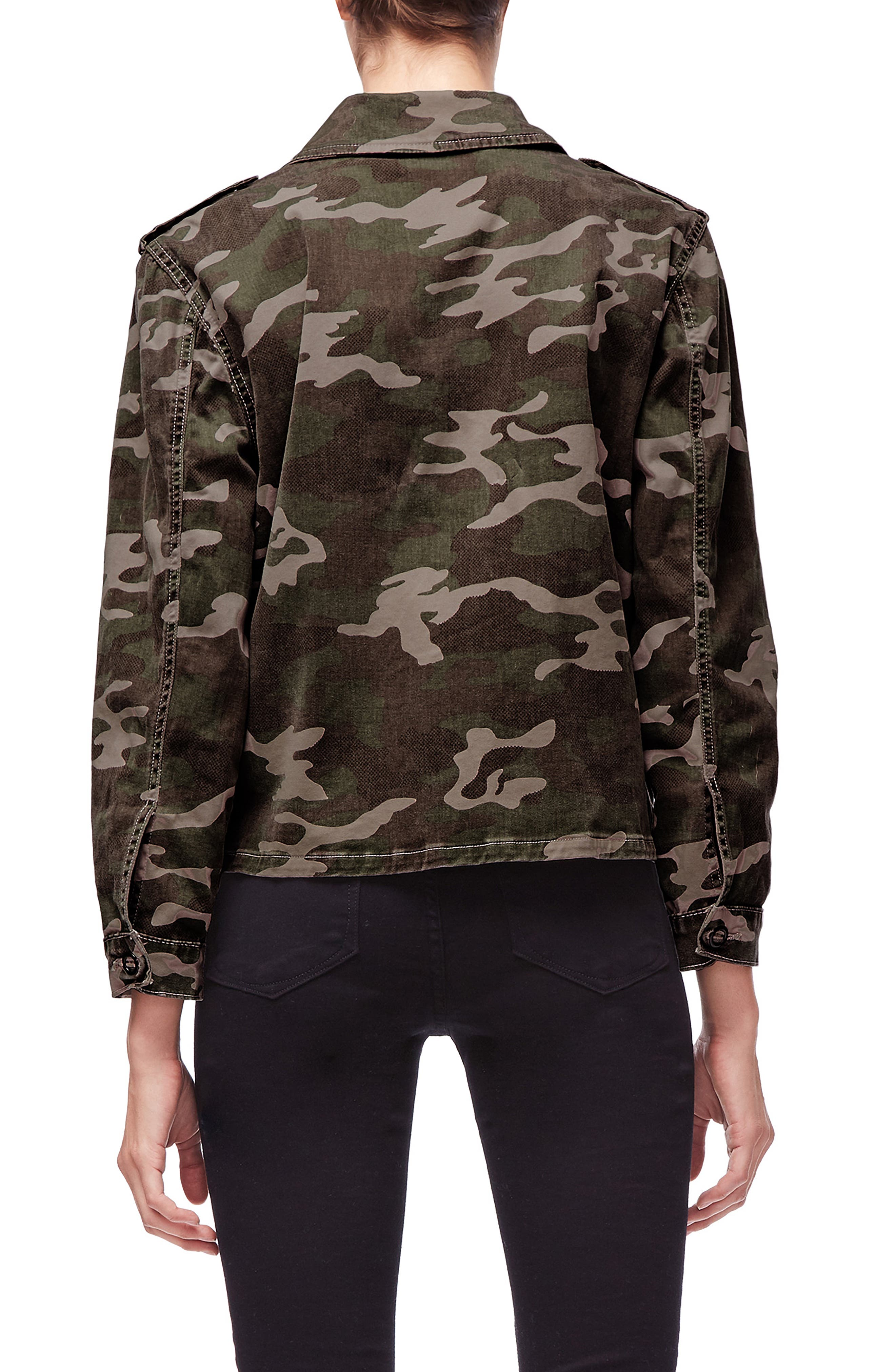 Camo Print Military Jacket,                             Alternate thumbnail 3, color,                             301