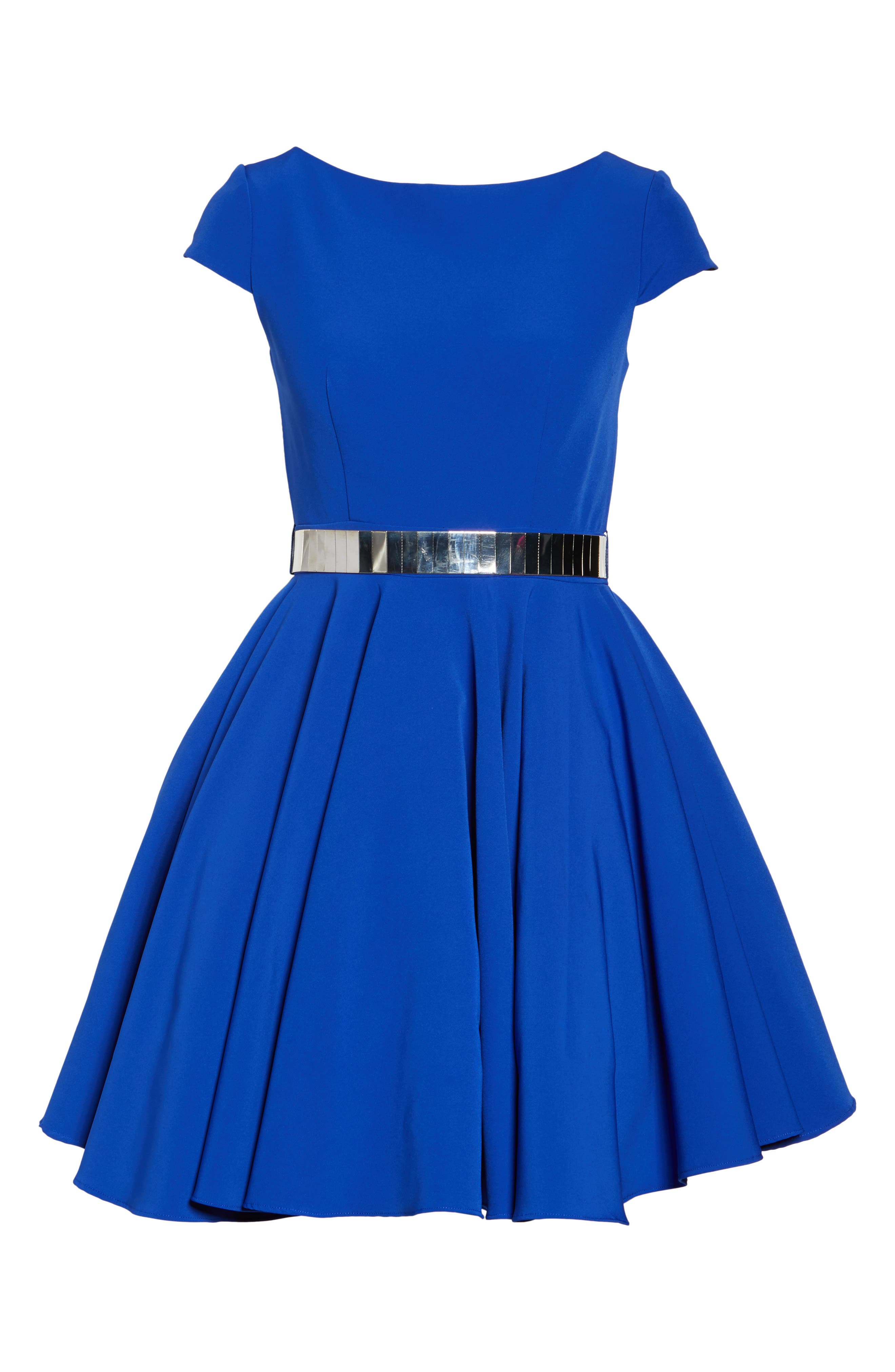 Belted Open Back Fit & Flare Dress,                             Alternate thumbnail 6, color,                             465