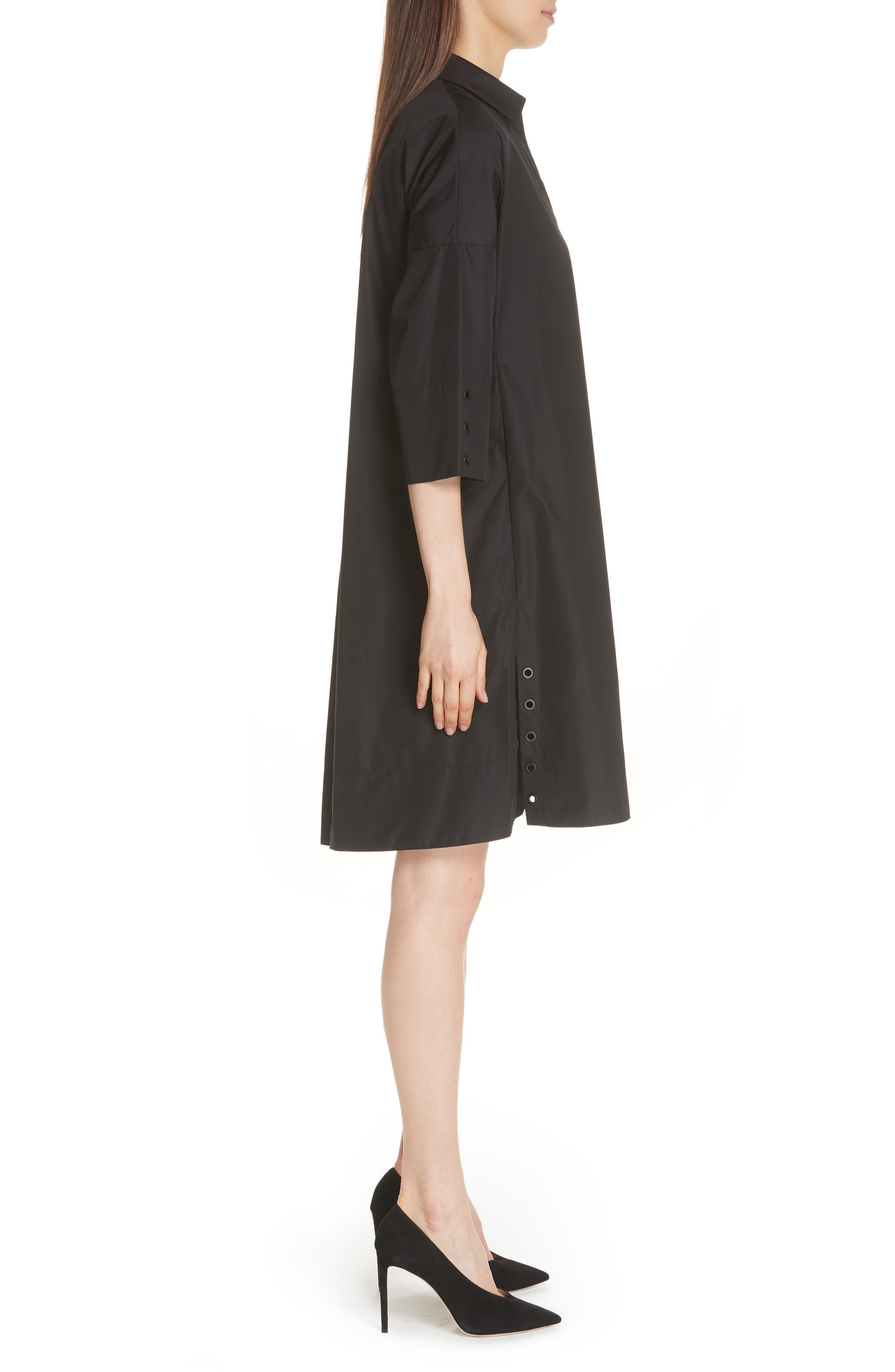 Eyelet Detail Cotton Dress,                             Alternate thumbnail 3, color,                             BLACK