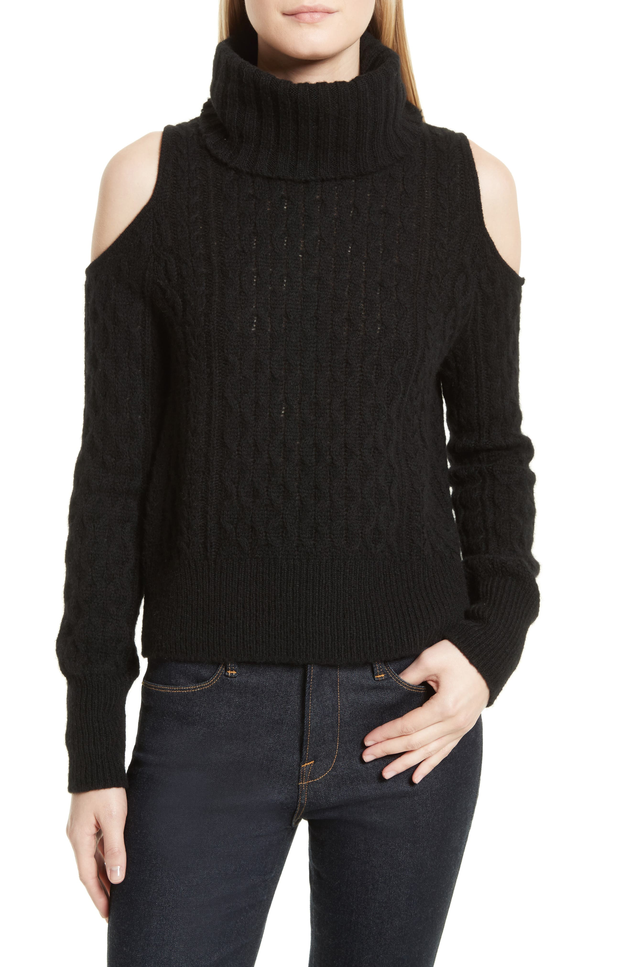 Cold Shoulder Cable Knit Sweater,                             Main thumbnail 1, color,                             001