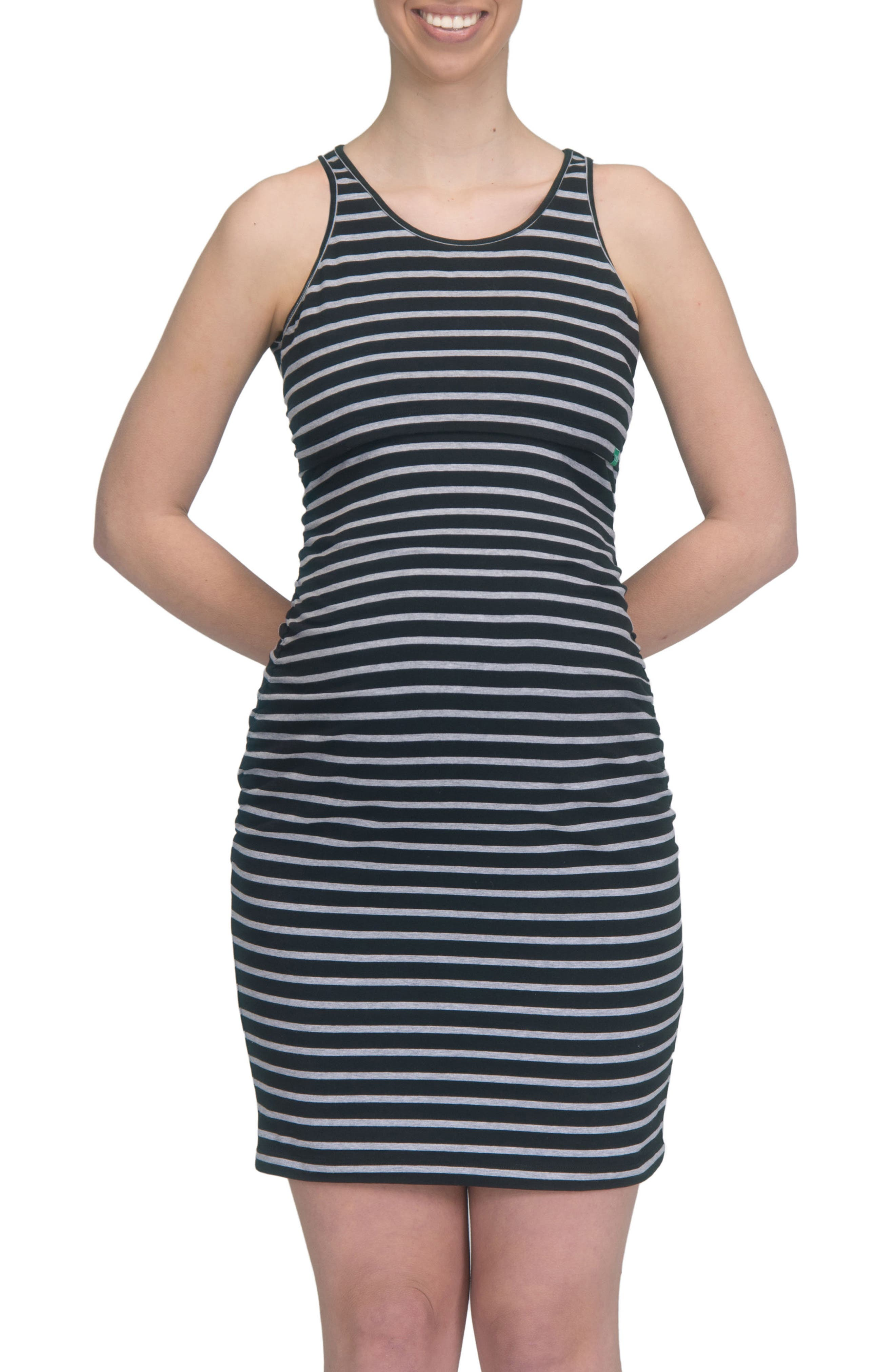 Maternity/Nursing Tank Dress,                         Main,                         color, BLACK/ GREY