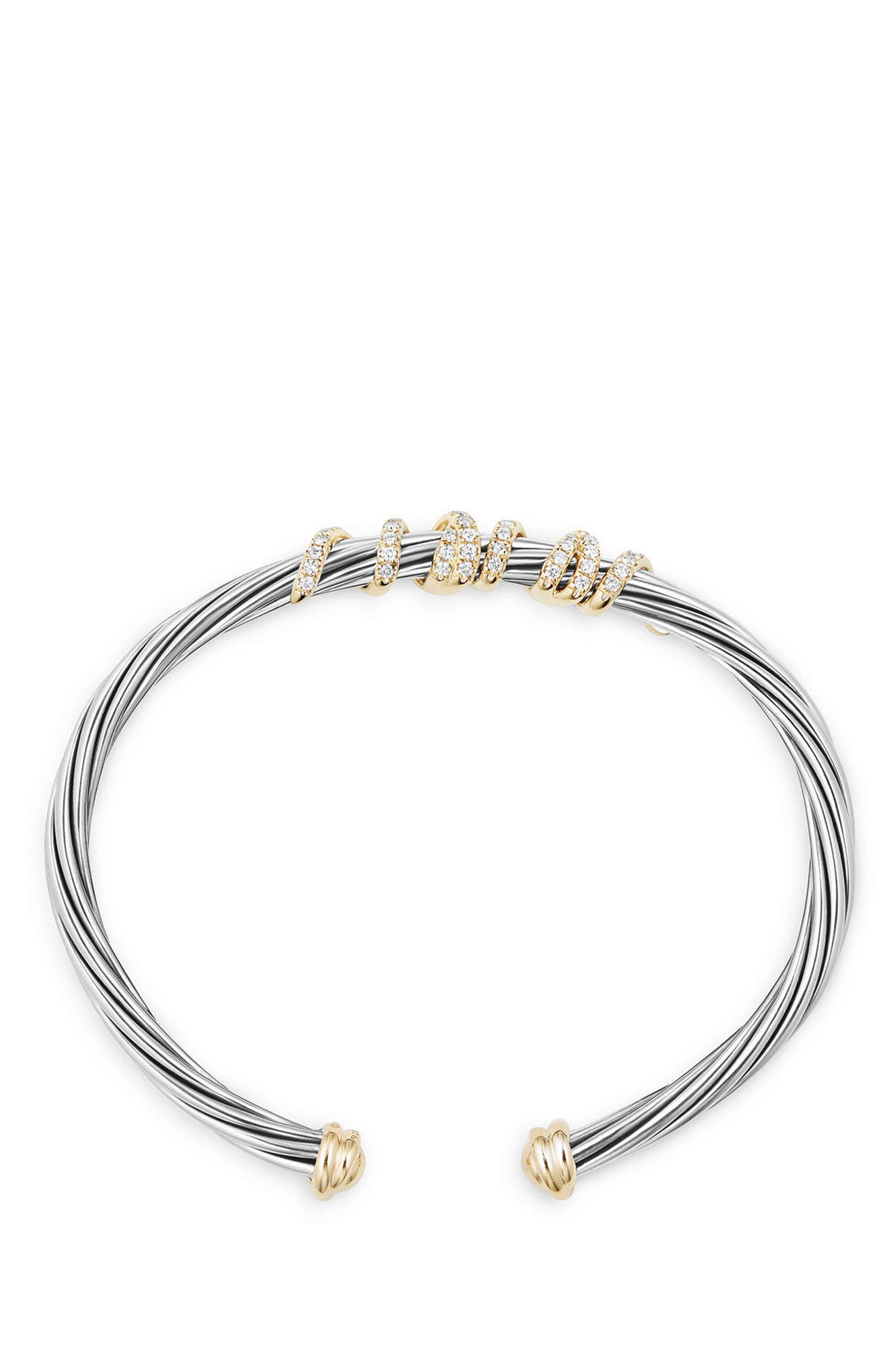 Helena Center Station Bracelet with Diamonds and 18K Gold, 4mm,                             Alternate thumbnail 3, color,                             SILVER/ GOLD