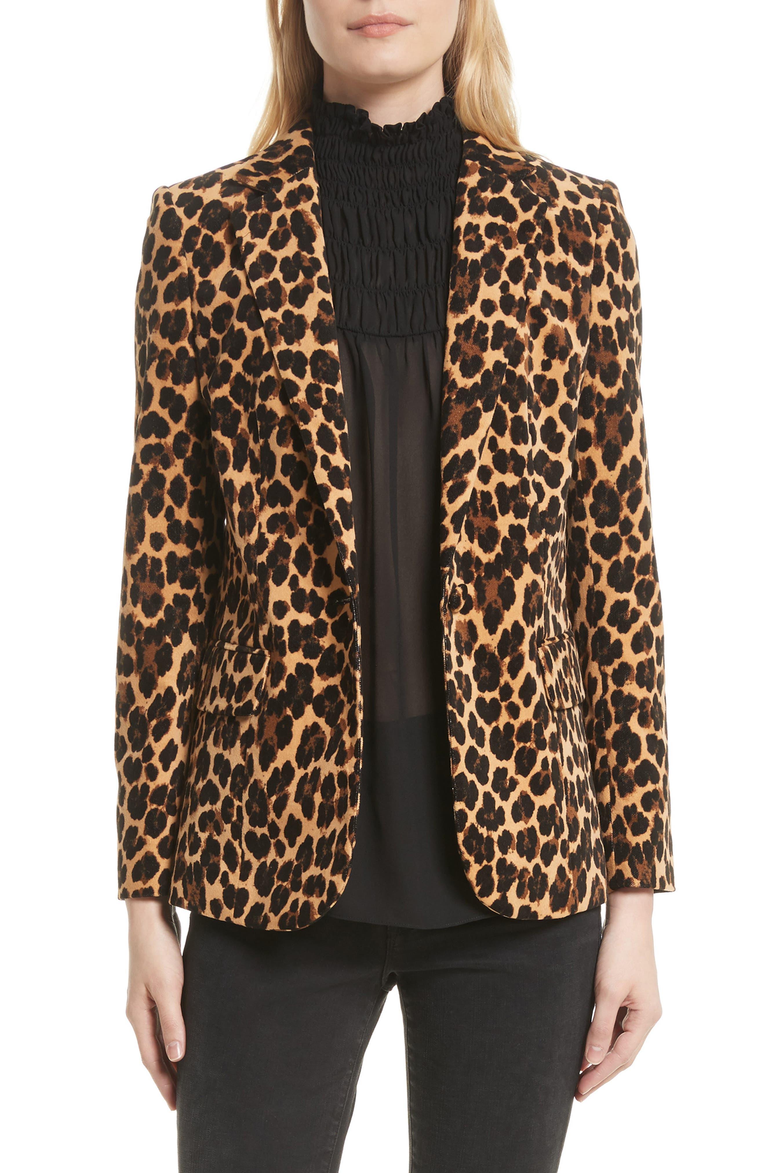 Cheetah Classic Velvet Blazer,                         Main,                         color, 200