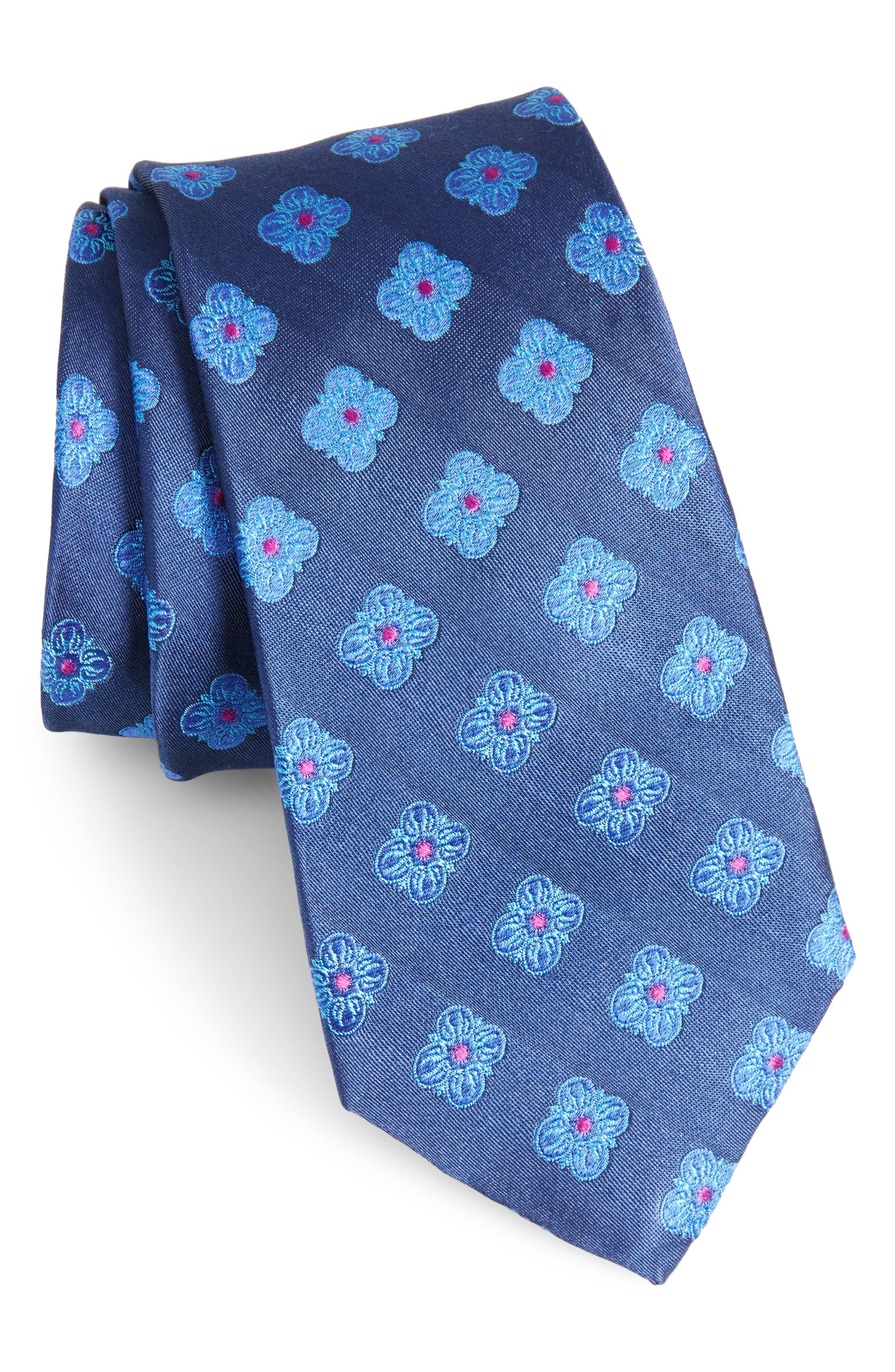 Cameron Floral Medallion Silk Tie,                             Main thumbnail 2, color,
