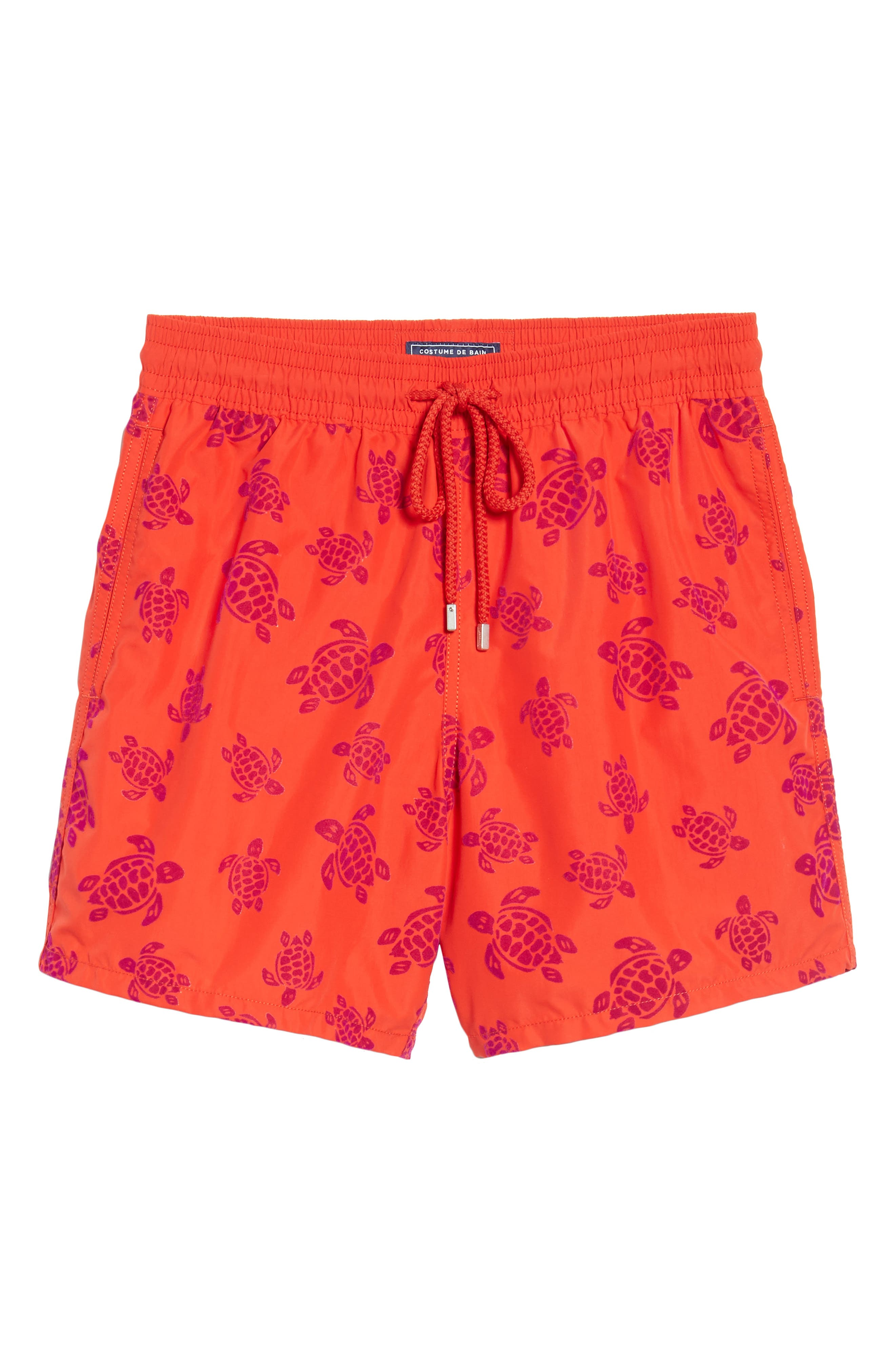 Flocked Turtles Swim Trunks,                             Alternate thumbnail 6, color,                             POPPY RED