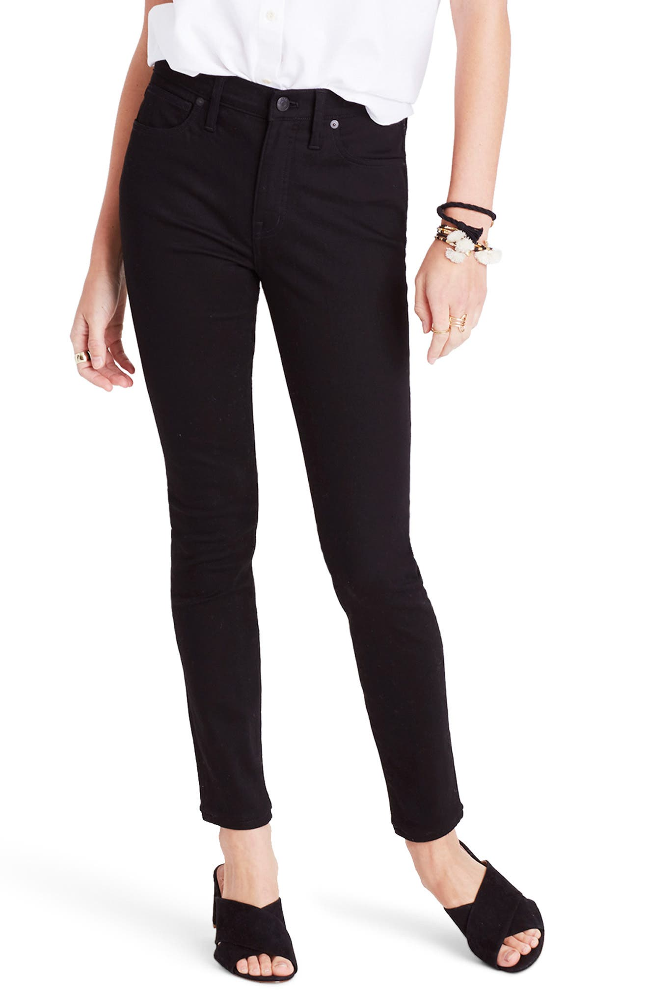 9-Inch High Waist Skinny Jeans,                         Main,                         color, BLACK FROST
