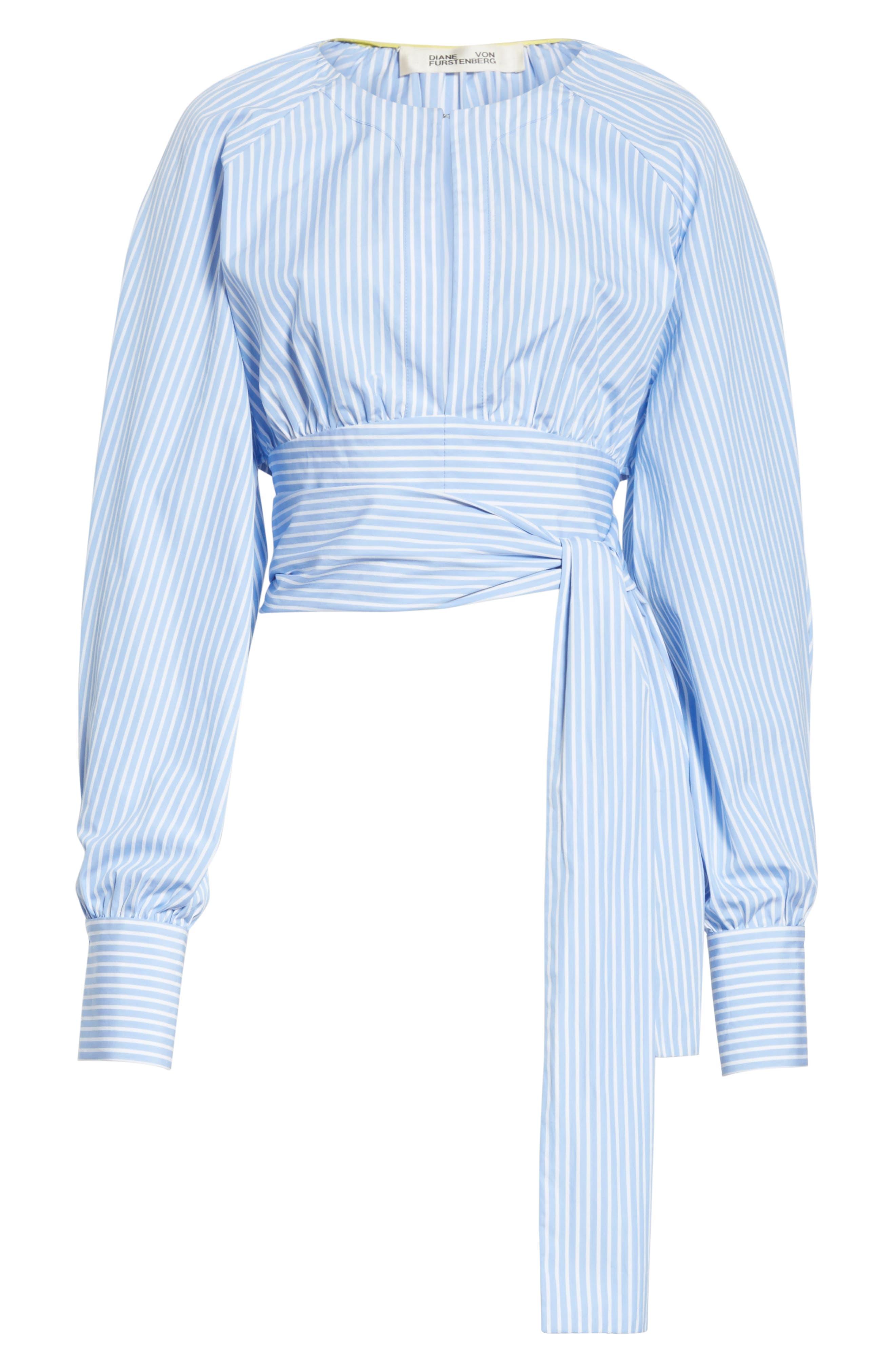 Diane von Furstenberg Keyhole Crop Cotton Blouse,                             Alternate thumbnail 6, color,                             424