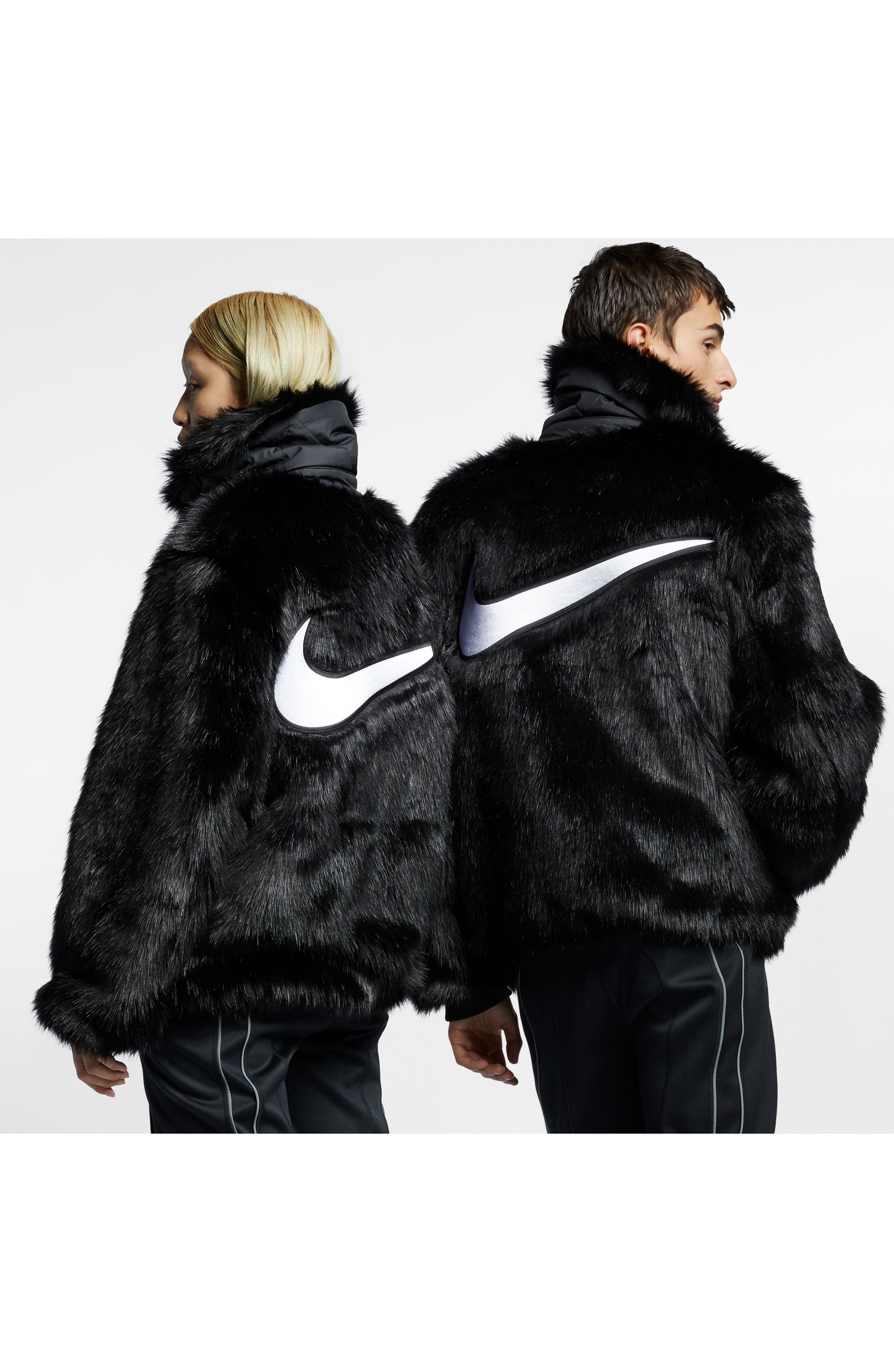 NIKE,                             x Ambush Women's Reversible Faux Fur Coat,                             Alternate thumbnail 8, color,                             010