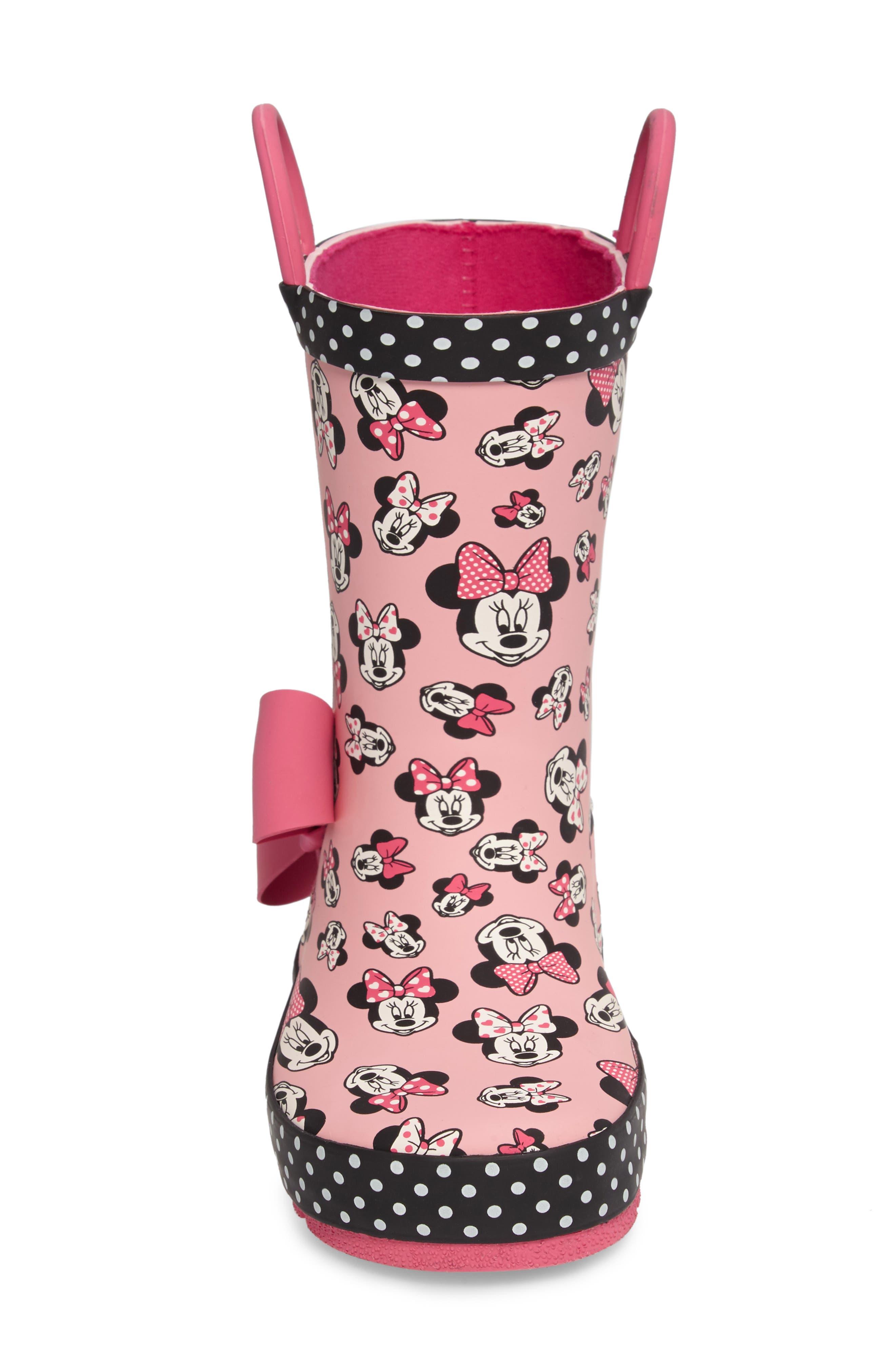 Disney<sup>®</sup> Minnie Mouse Waterproof Rain Boot,                             Alternate thumbnail 4, color,                             680
