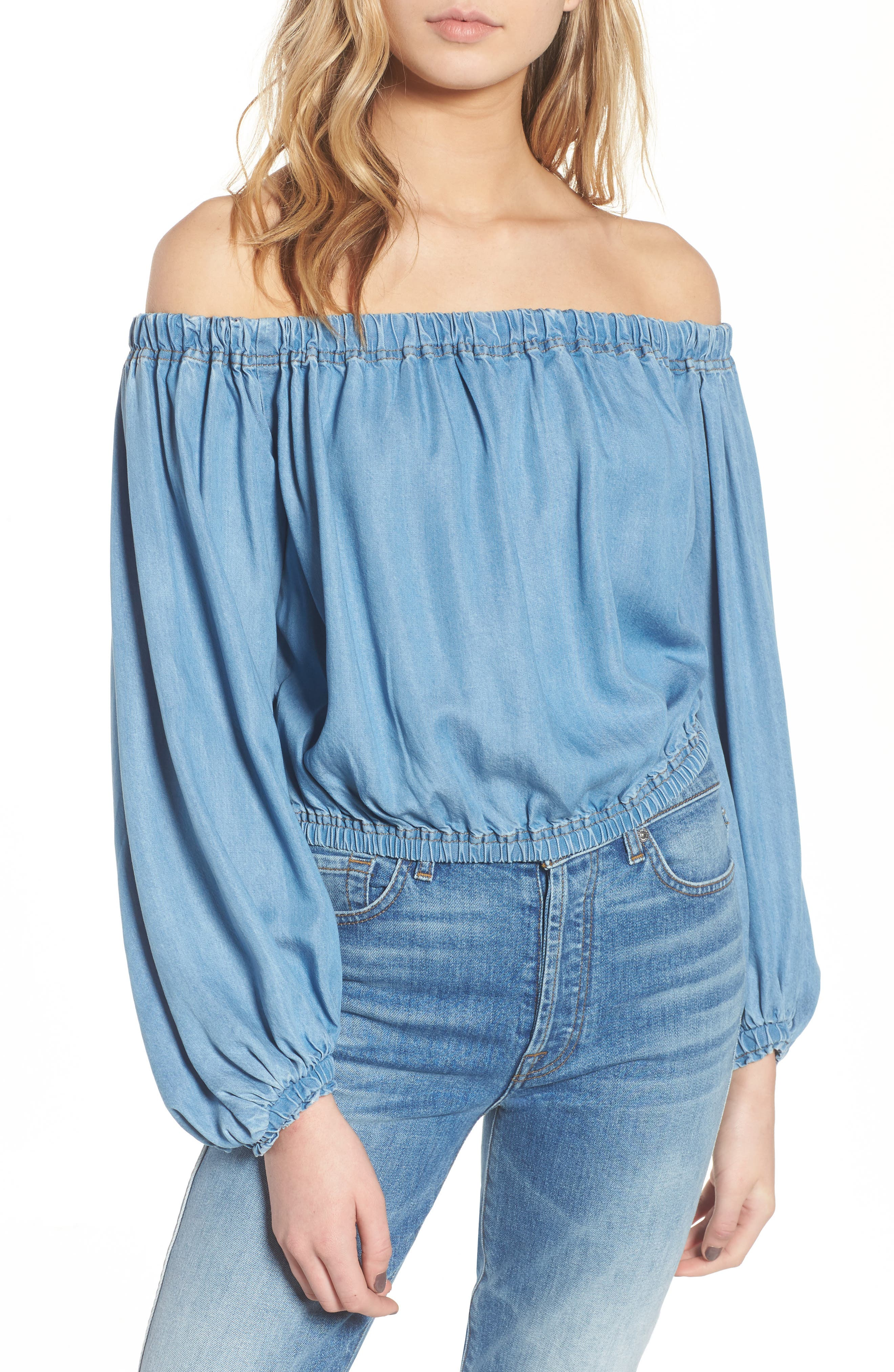 Blouson Off the Shoulder Denim Top,                             Main thumbnail 1, color,                             401