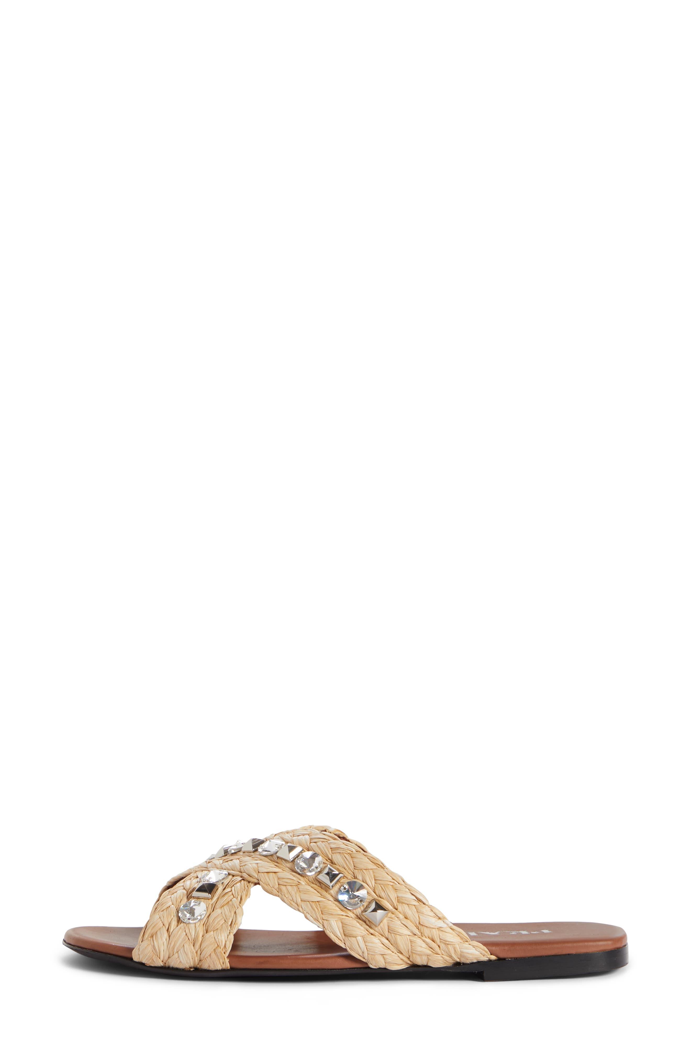 PRADA,                             Embellished Slide Sandal,                             Alternate thumbnail 3, color,                             NATURAL RAFFIA