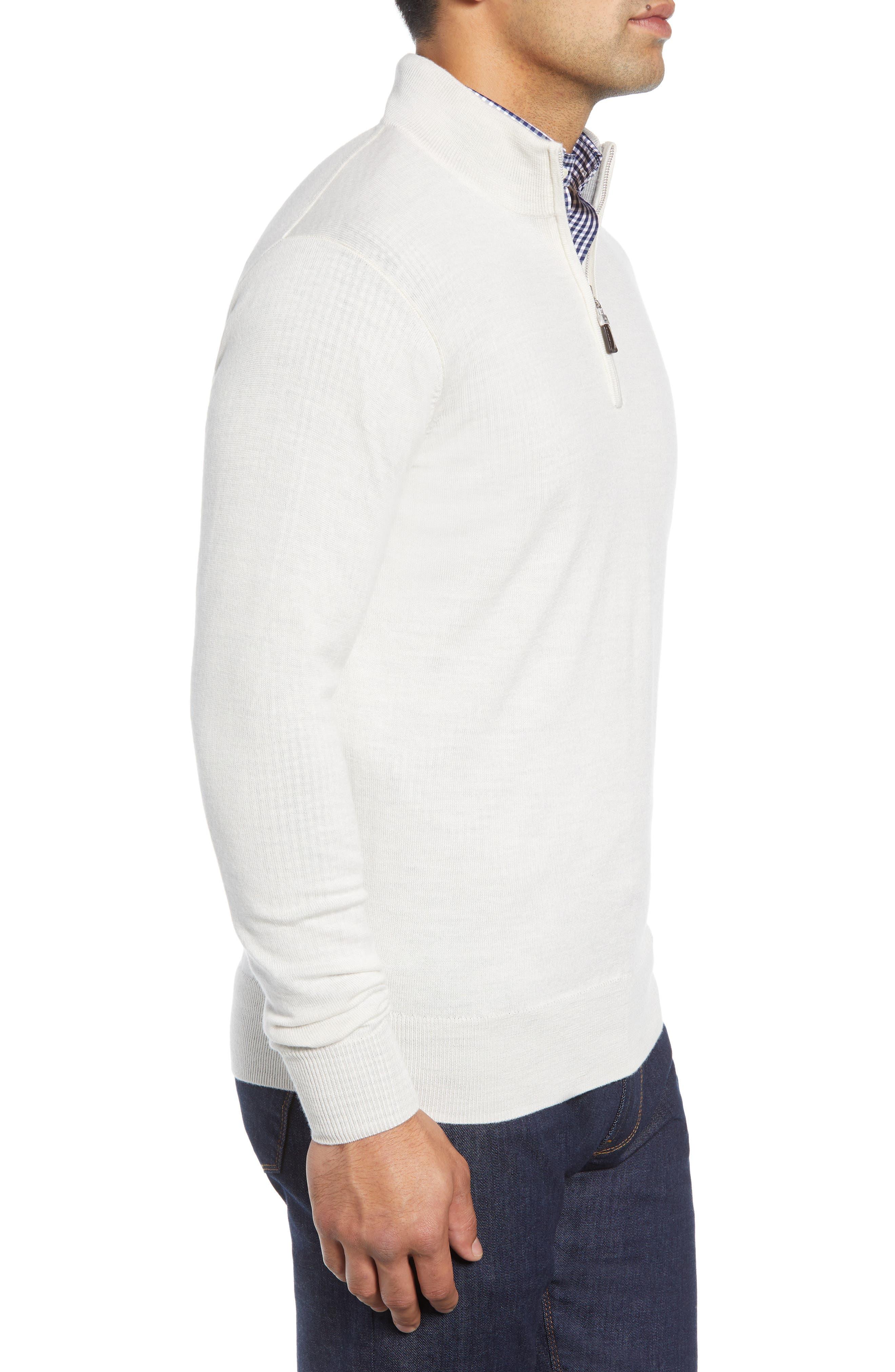 Crown Soft Regular Fit Wool Blend Quarter Zip Sweater,                             Alternate thumbnail 3, color,                             WHITE