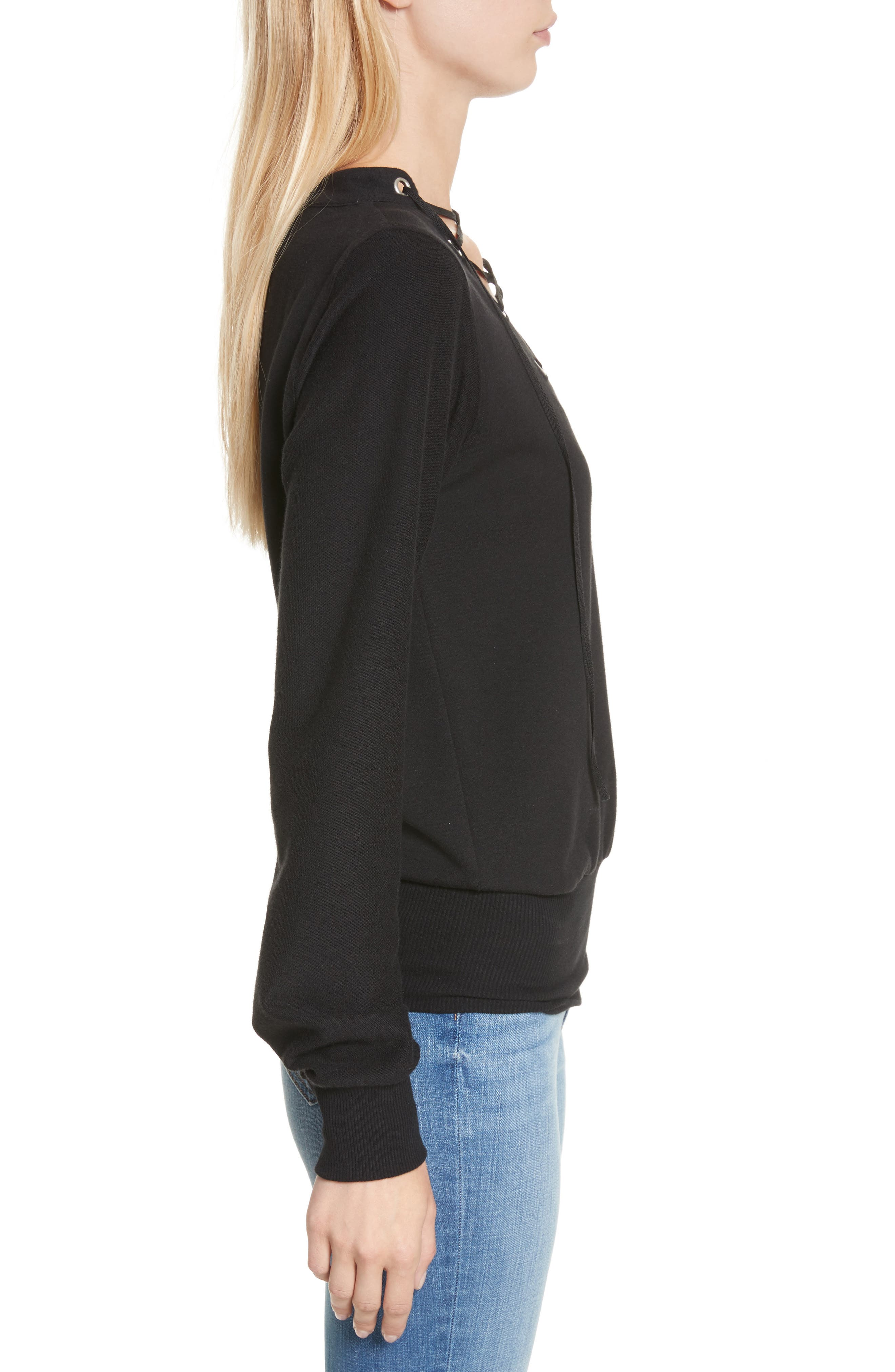 Josilyn Lace-Up Sweatshirt,                             Alternate thumbnail 3, color,                             001